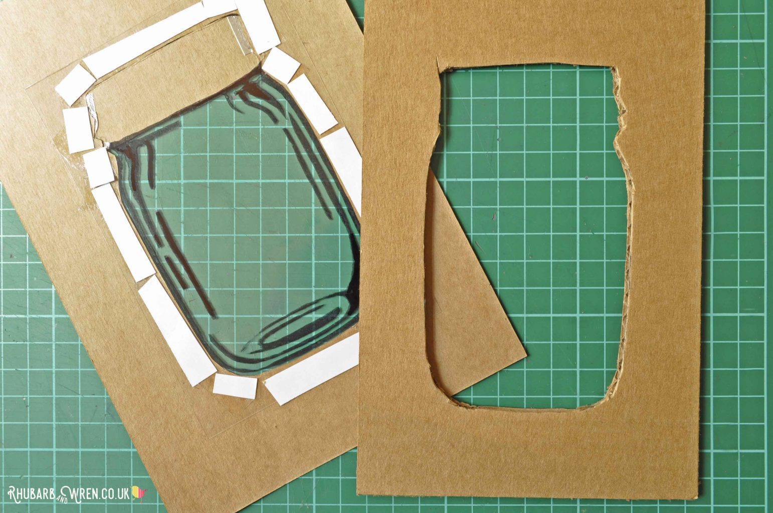 Sticking on corrugated cardboard to add depth to a mason jar shaker card.