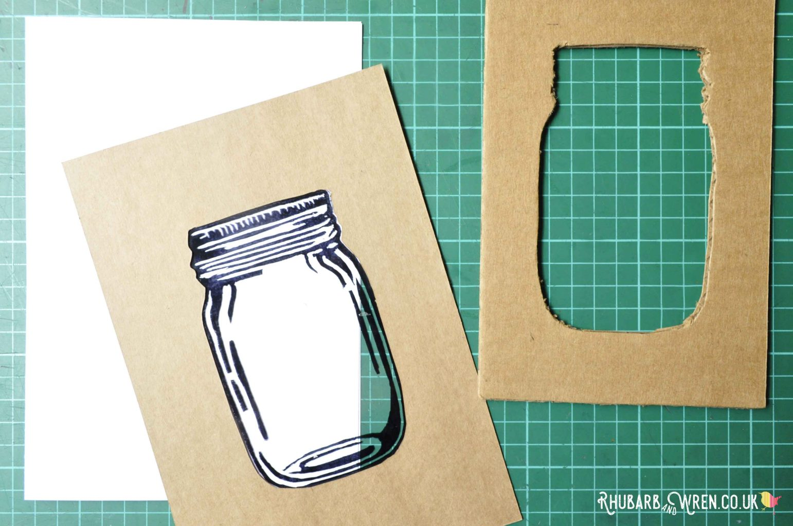 DIY mason jar shaker card in progress.