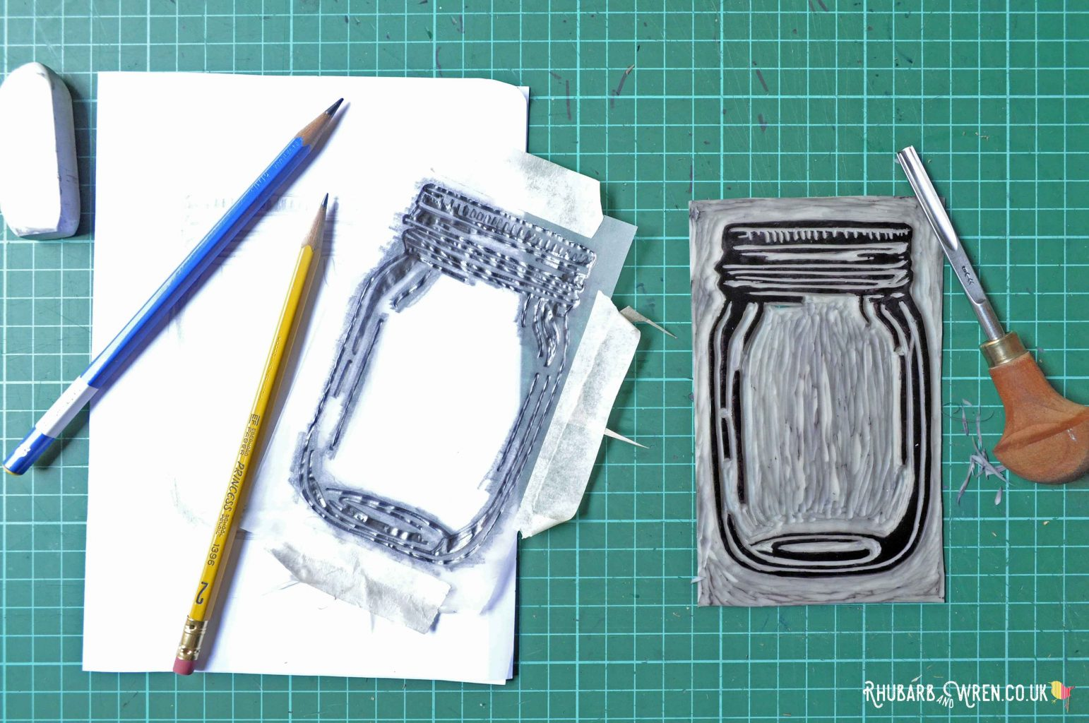 lino cut design for mason jar shaker card