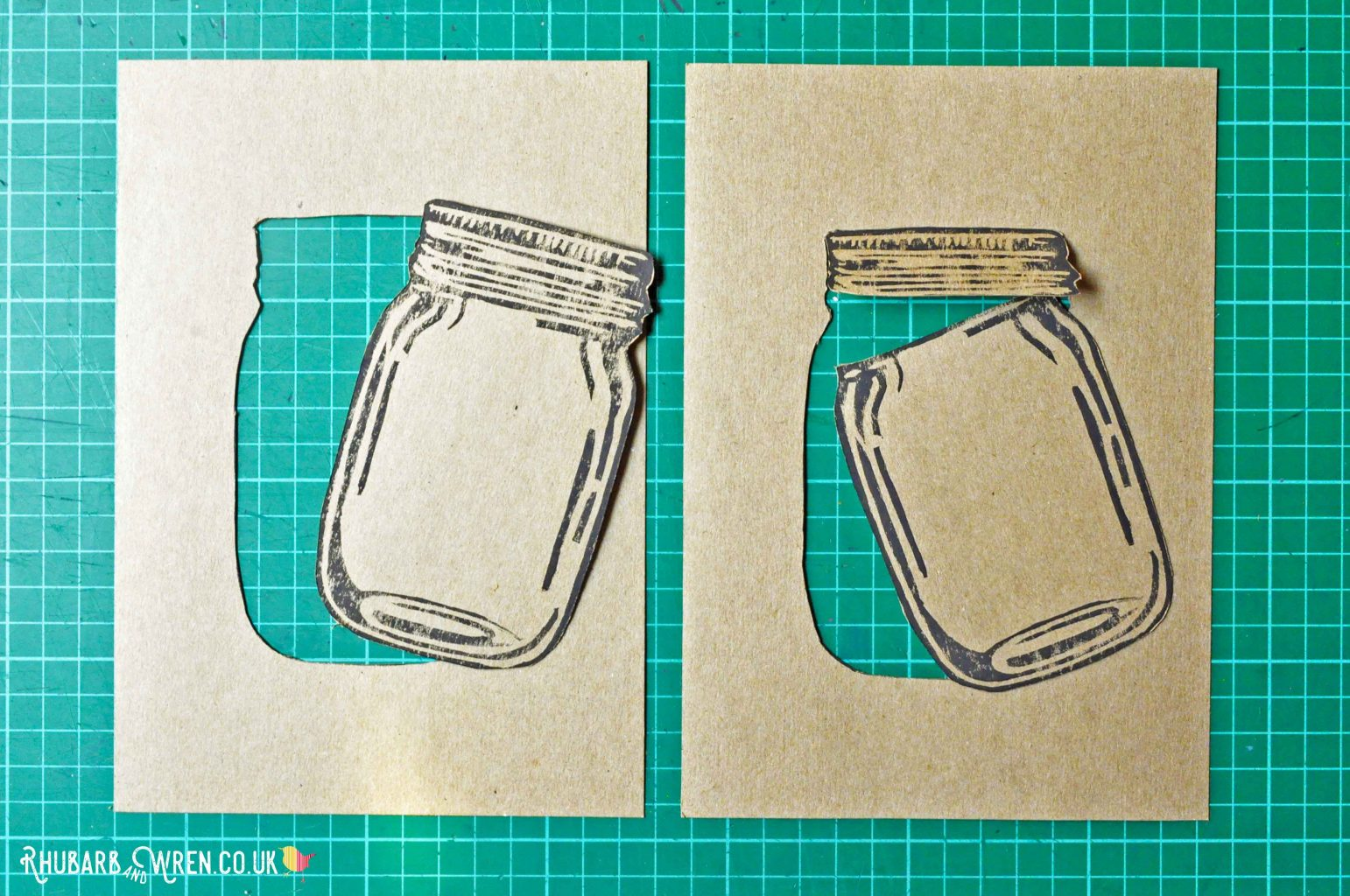 Mason jar lino prints cut out fully and partially.