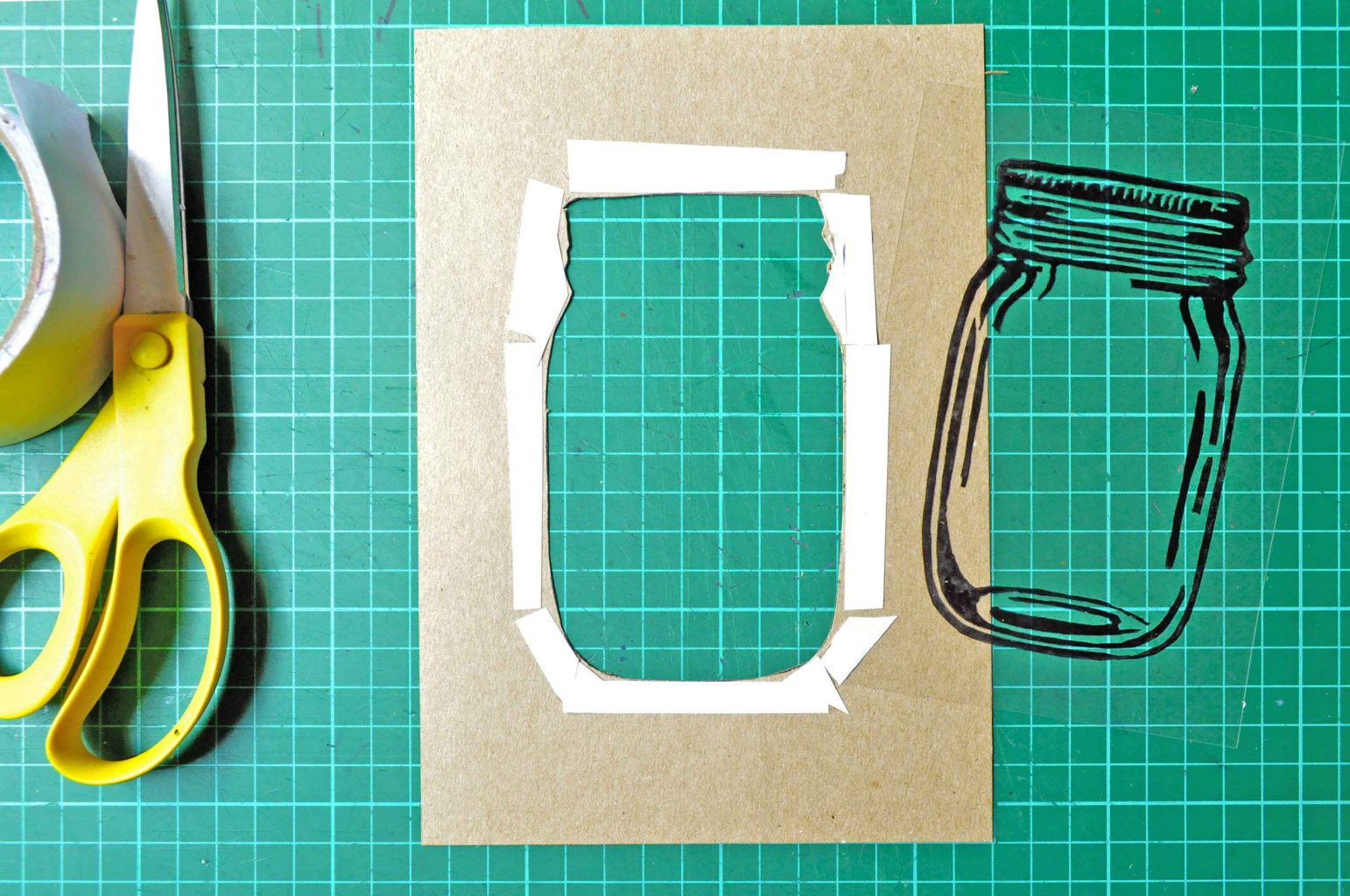 Home-made mason jar shaker card in progress