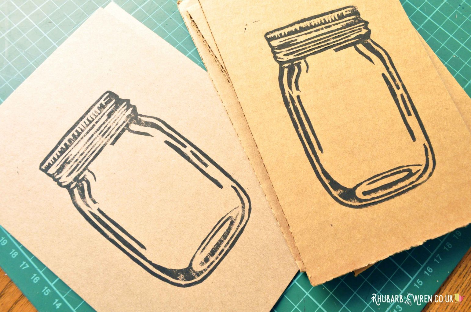 lino printed mason jar shaker card images