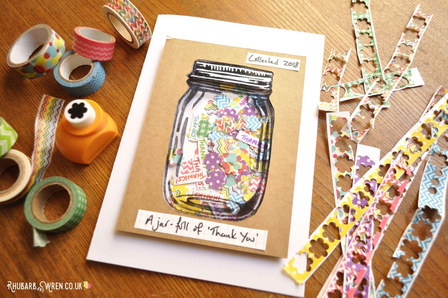 DIY mason jar shaker card with washi tape confetti