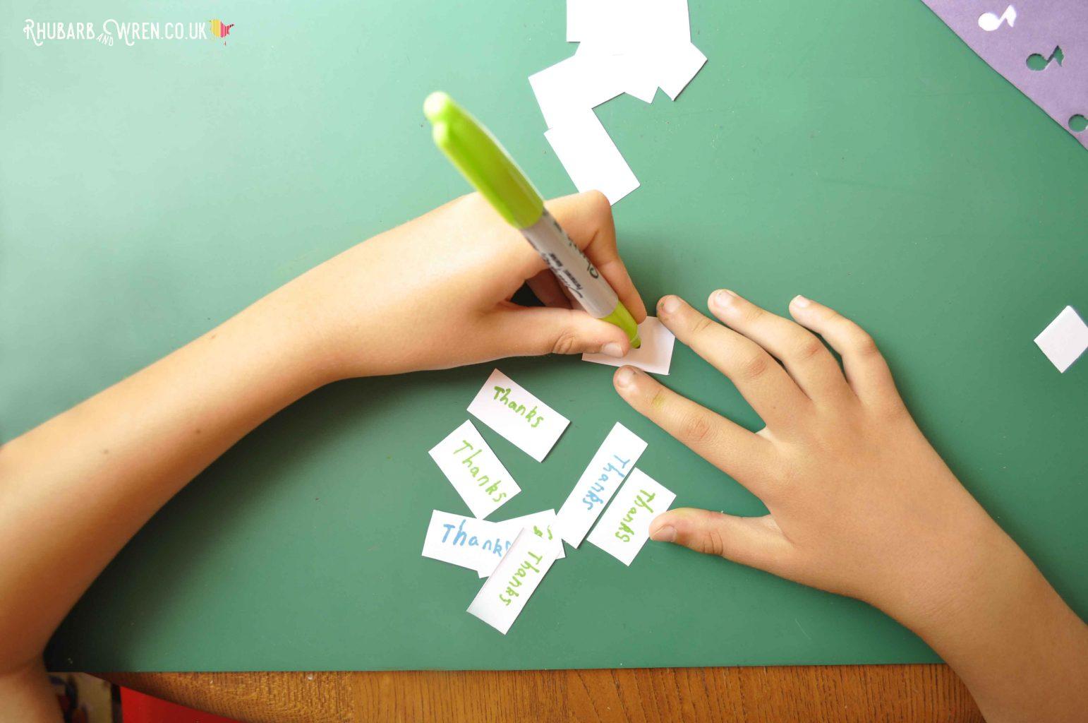 Writing thank you notes to pop into a DIY mason jar shaker card.
