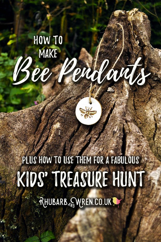 How to make clay bee pendants to use in an awesome woodland treasure hunt.