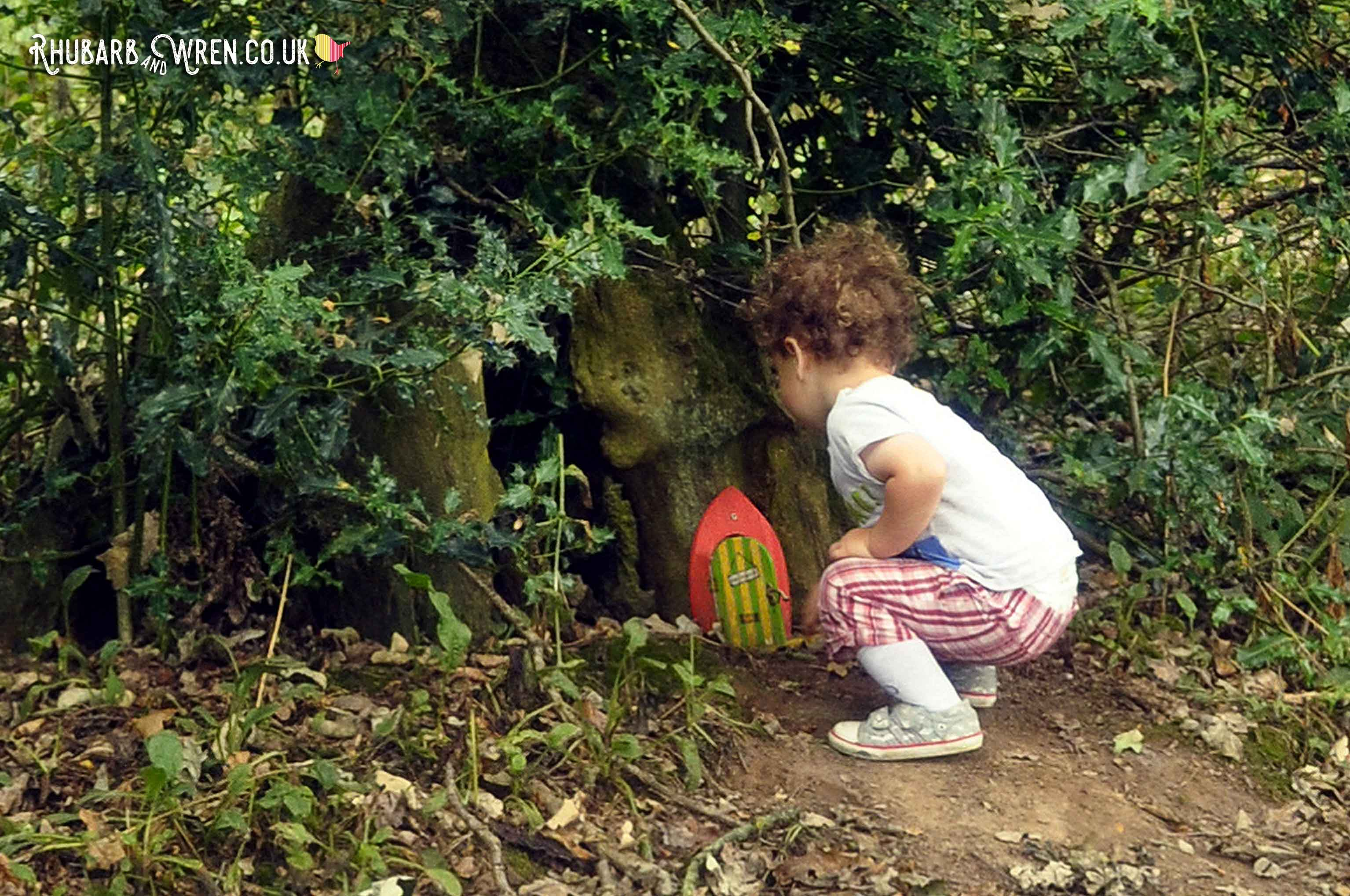 Looking for treasure in a fairy garden kids treasure hunt