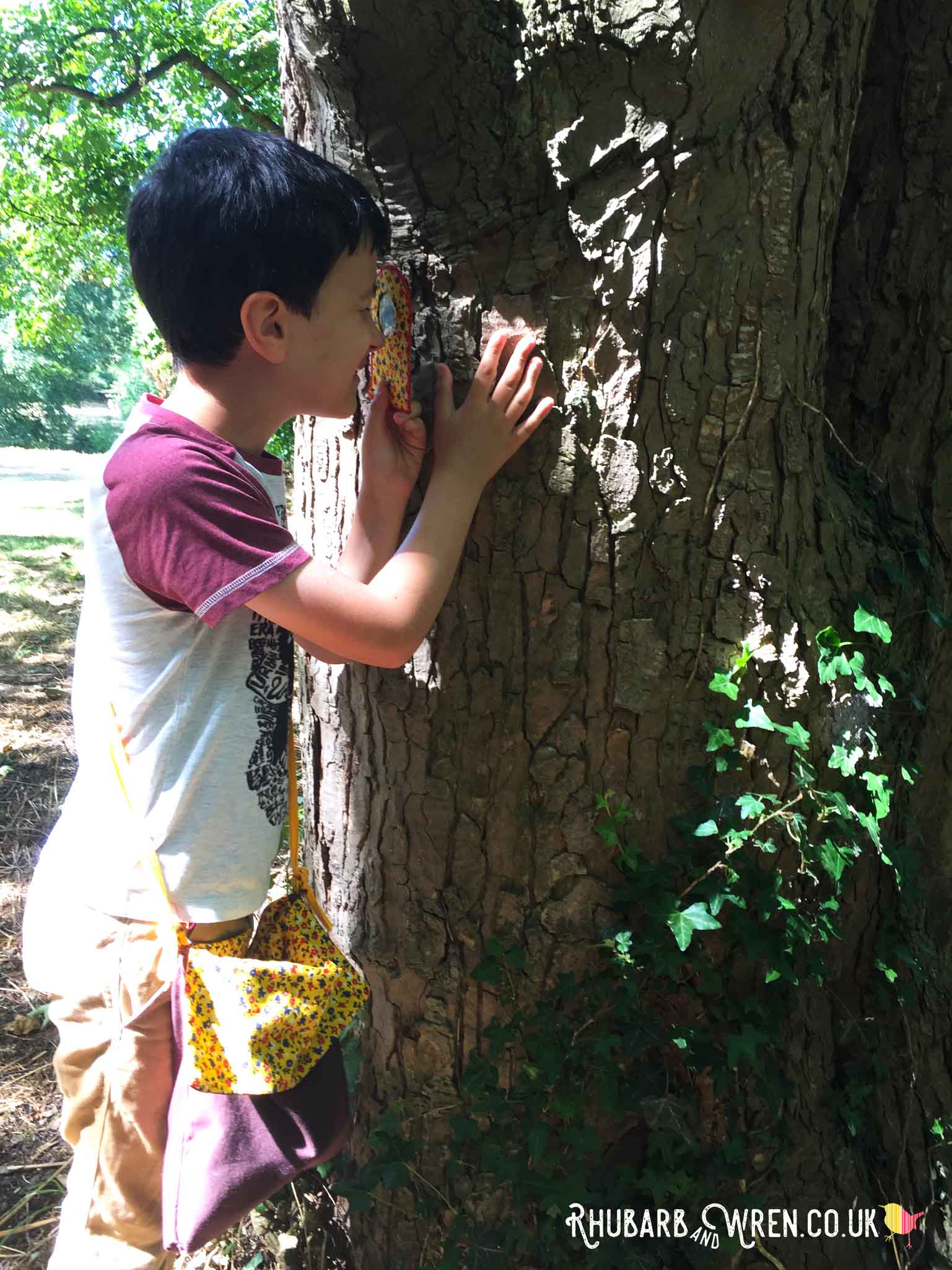 Boy, wearing nature explorer bag, examining tree through magnifying glass