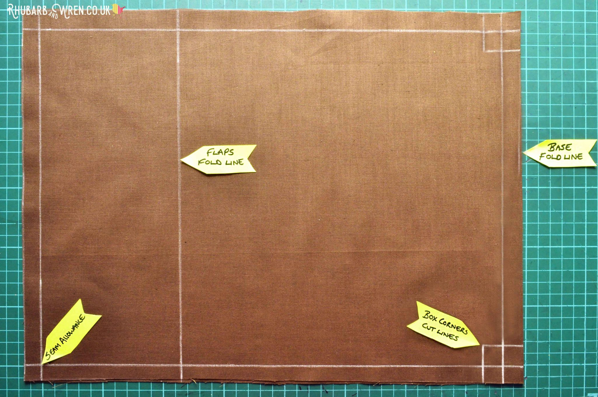 Marking up fabric for a diy kids nature explorer bag