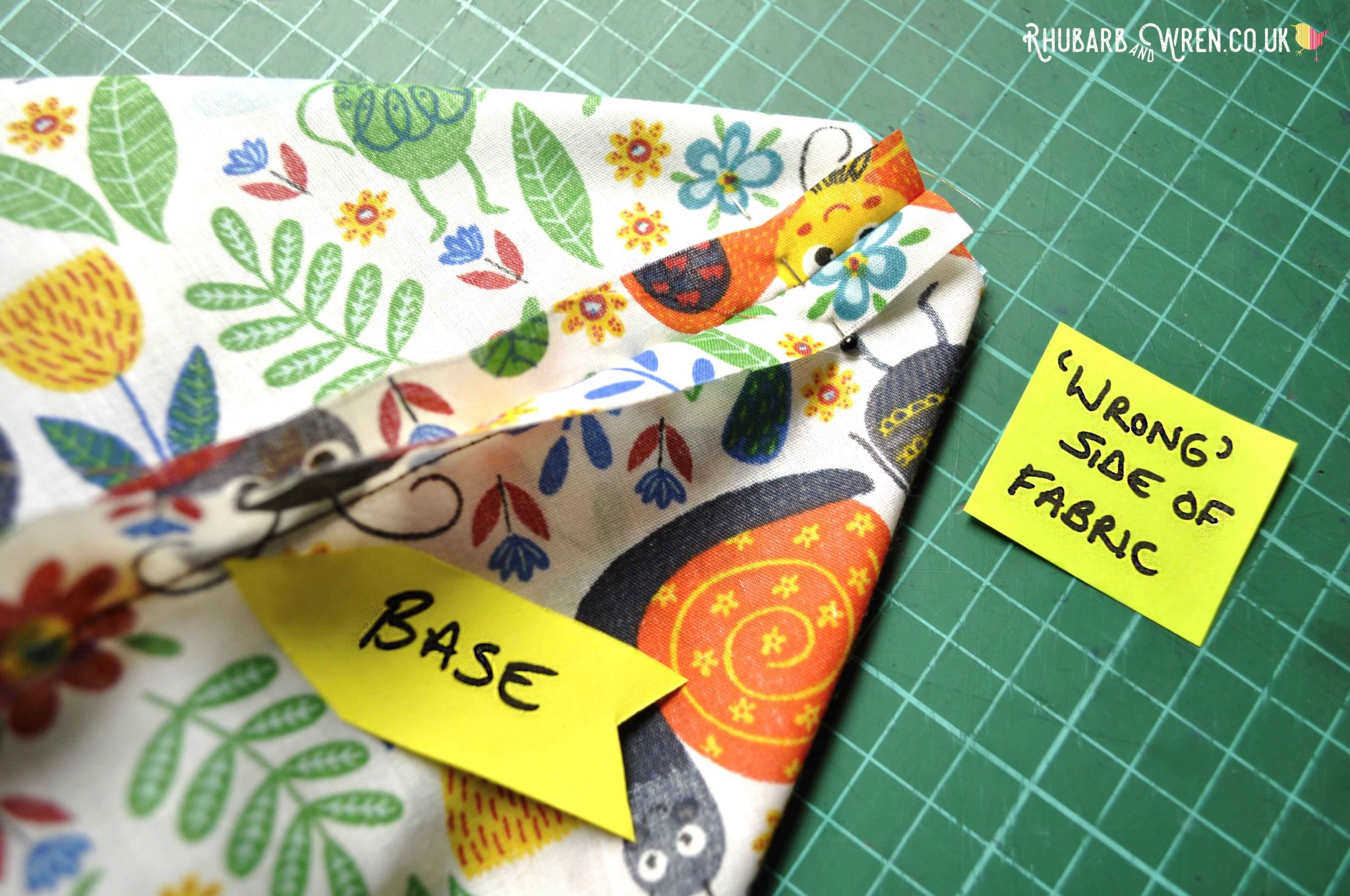 Making a box base on a kids nature explorer bag sewing project