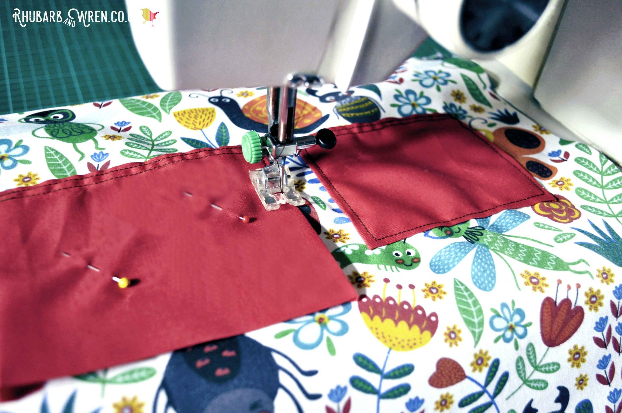 Sewing pockets onto a diy kids nature explorer bag