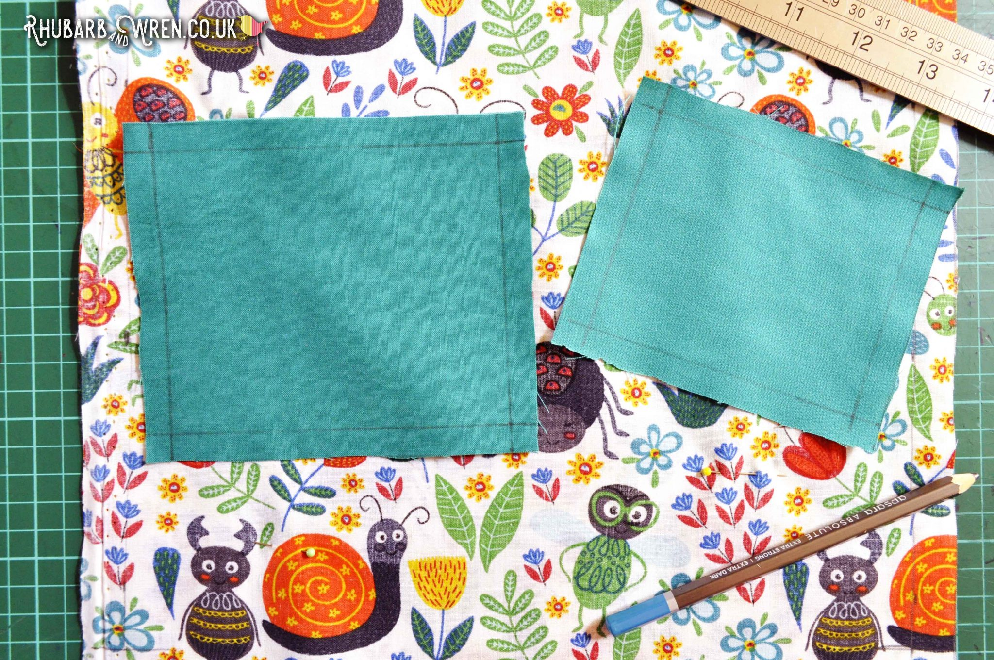 Fabric cut for pockets on a diy kids nature explorer bag sewing project