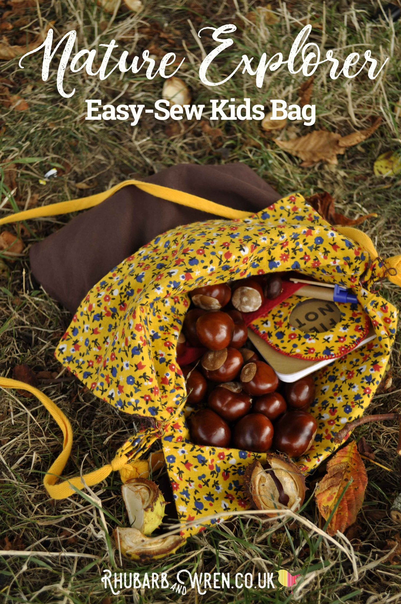 Homemade kids nature explorer bag, full of conkers