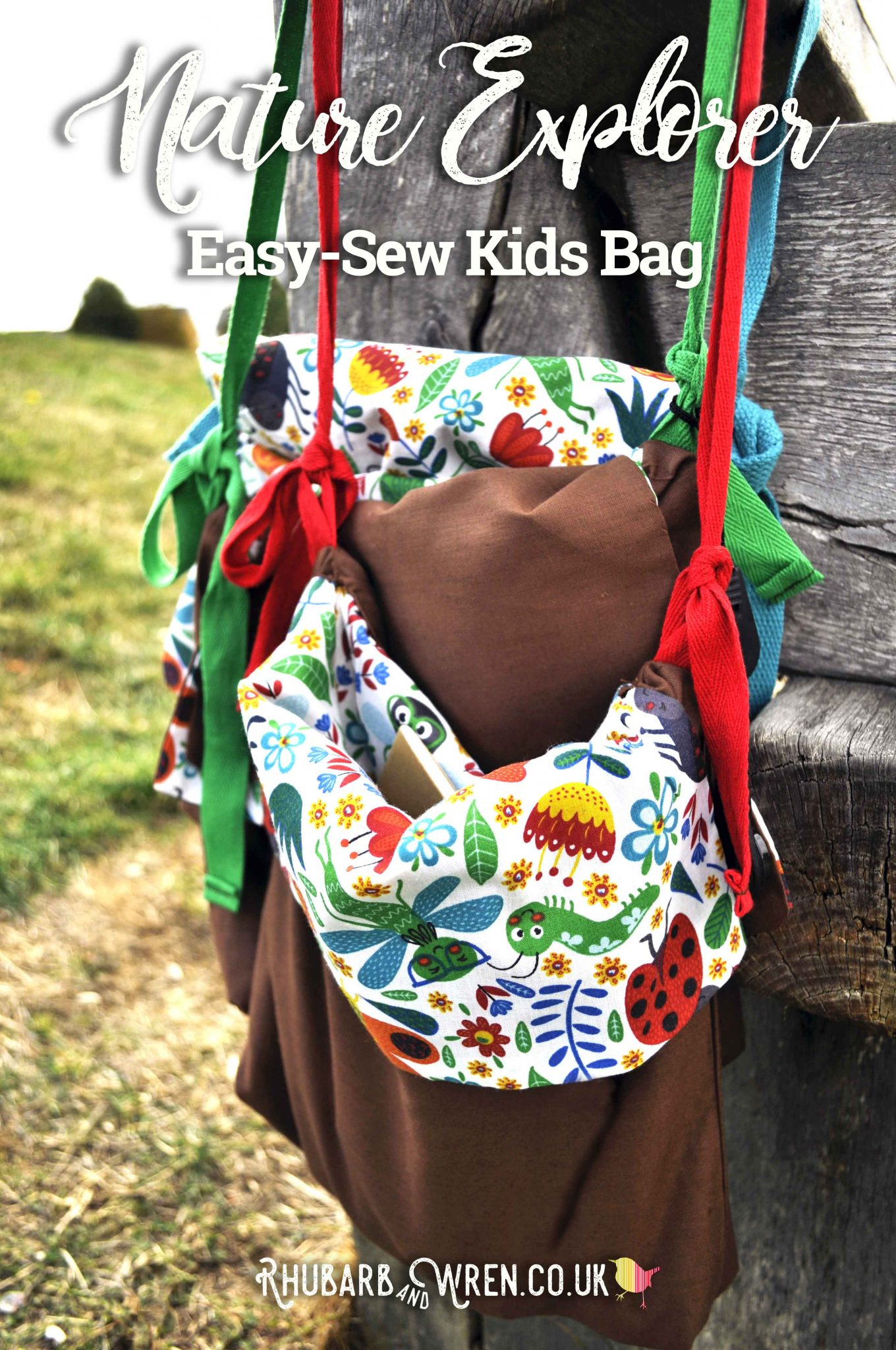 Homemade kids nature explorer bags