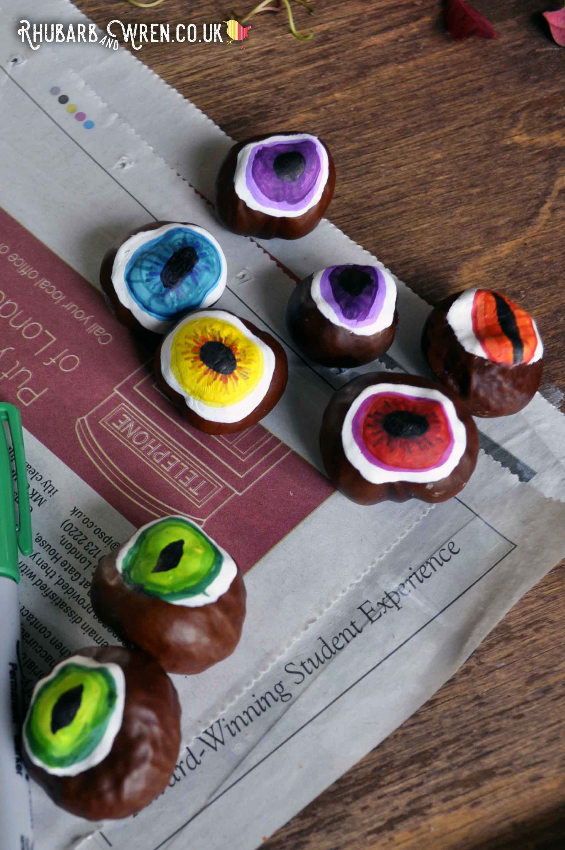 DIY conker eyeballs - perfect for Halloween