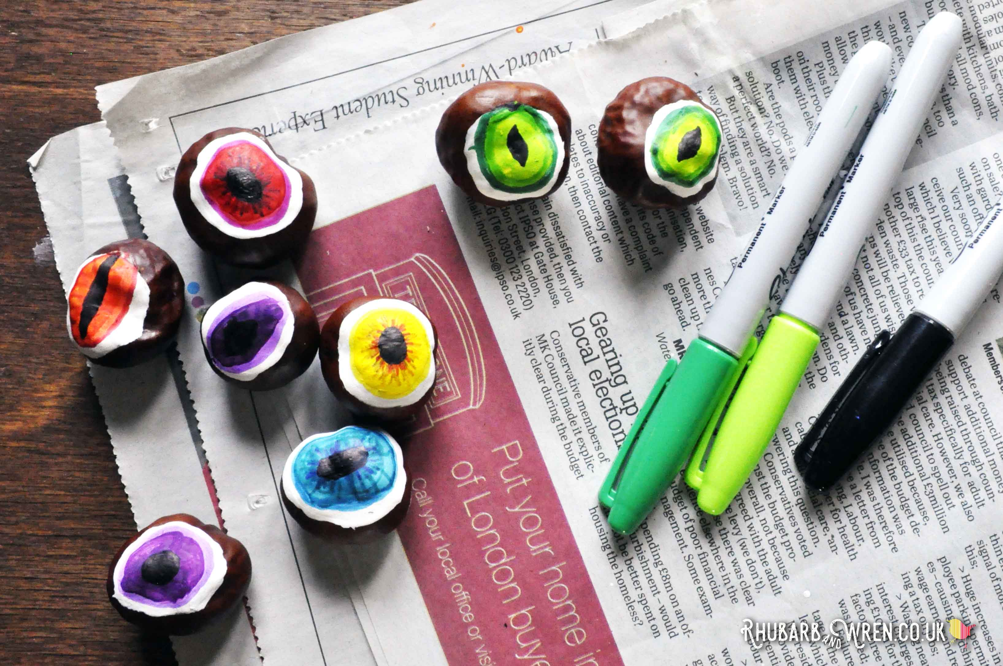 Colourful diy conker eyeballs for a fun autumn craft.