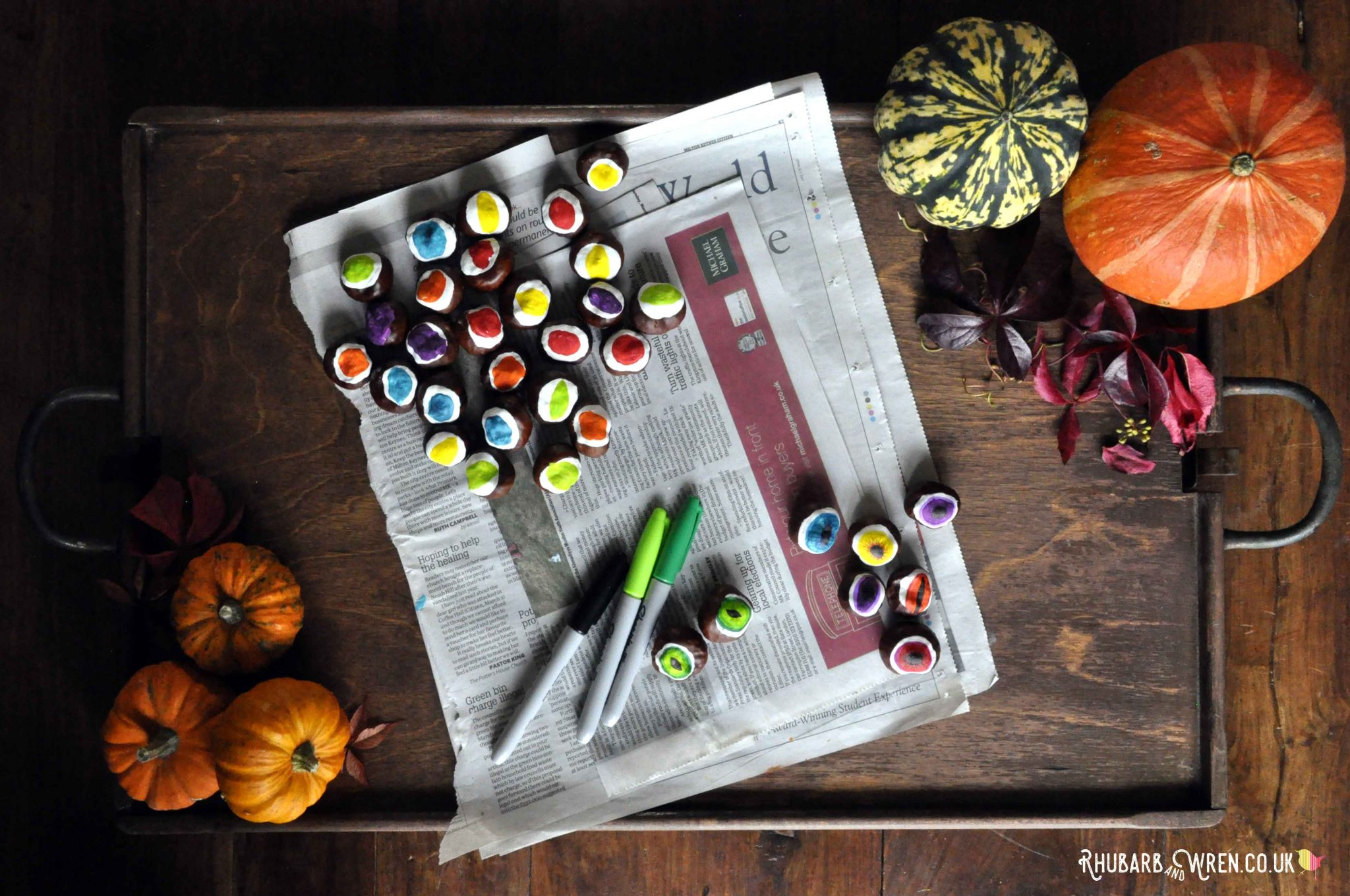 Make DIY conker eyeballs with the kids' autumn treasures