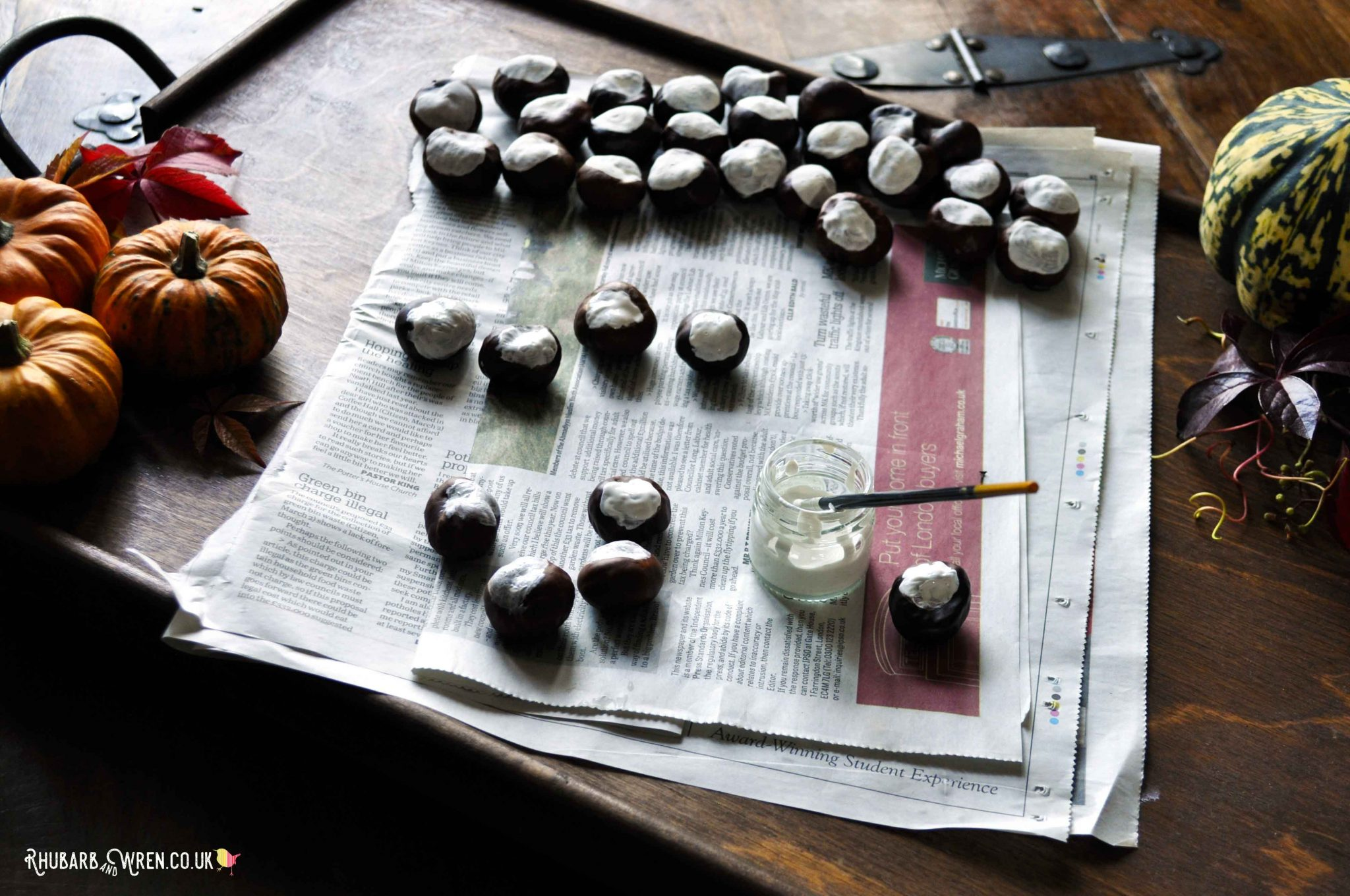 Autumn craft making DIY conker eyeballs - great for Halloween!