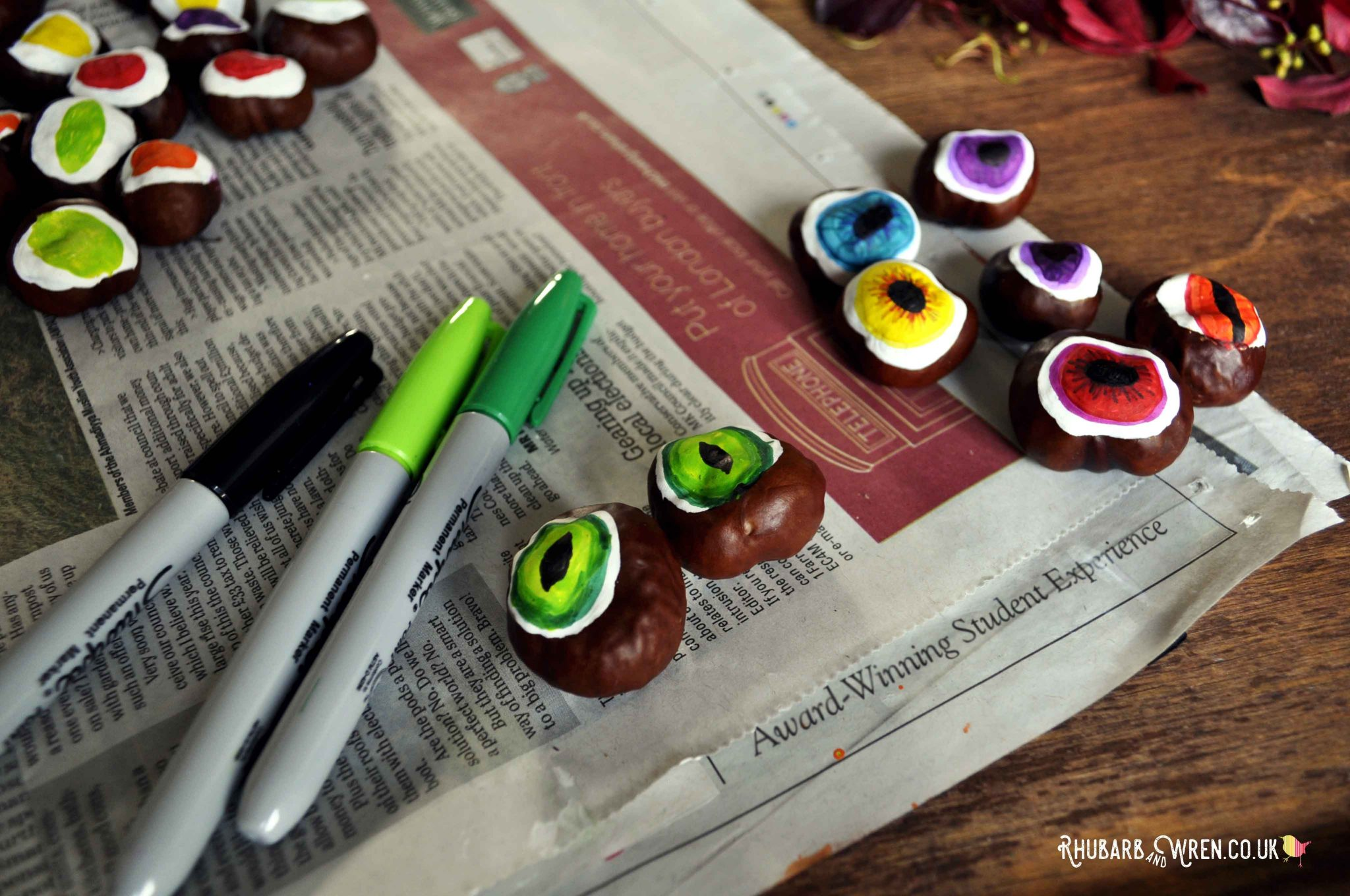 Making DIY conker eyeballs - simple Halloween fun!