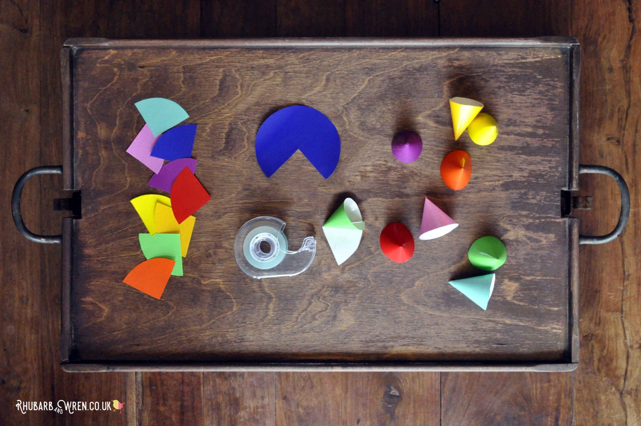 Nose cones for a kids paper fireworks craft activity