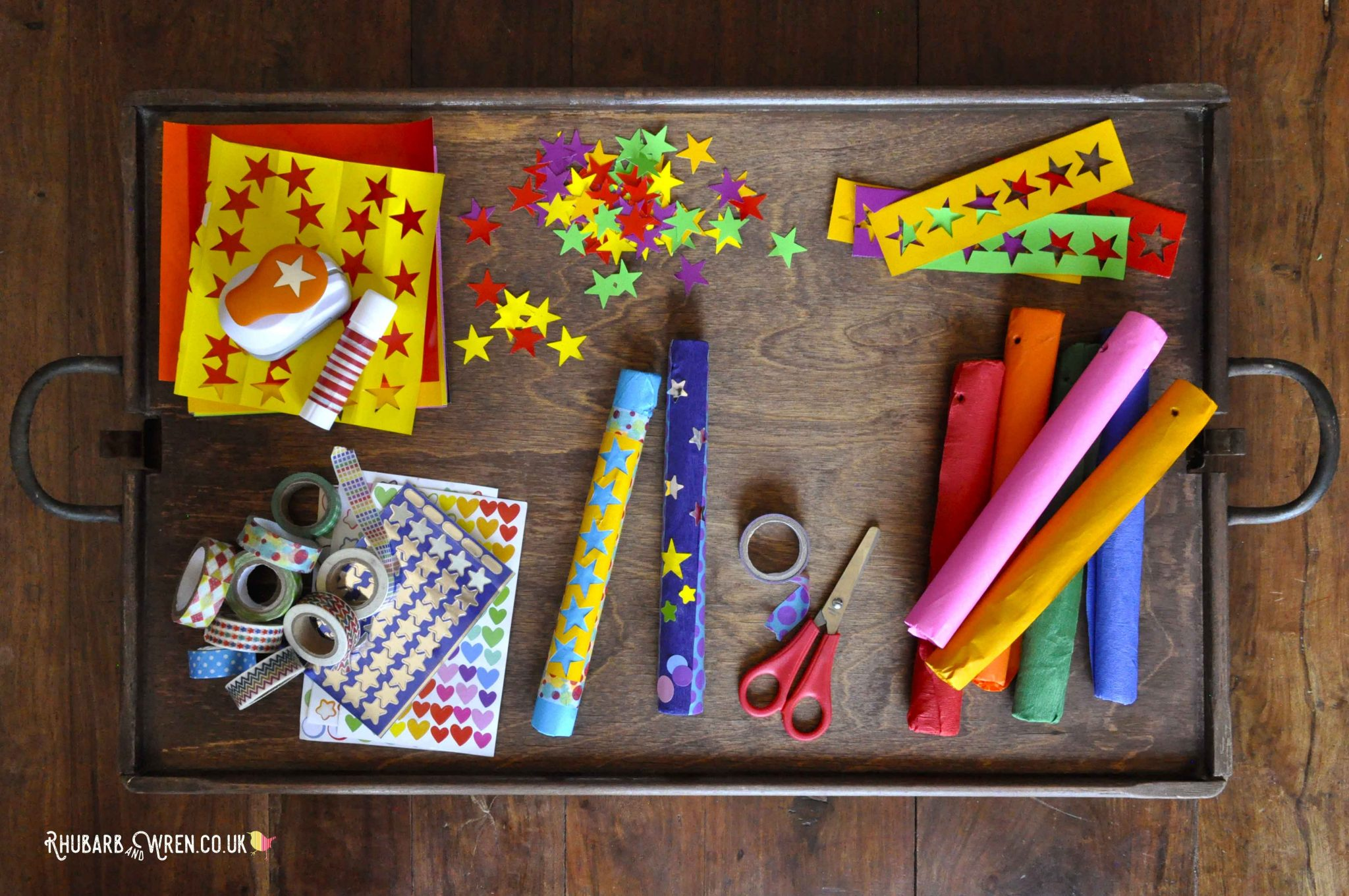 A paper fireworks craft - decorating rocket hand kites.