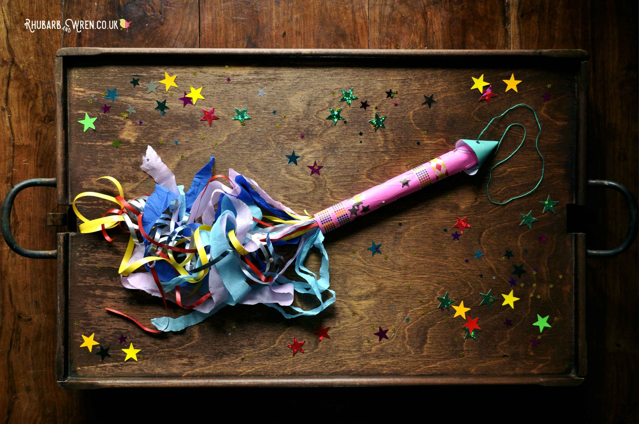 Paper fireworks craft for kids - making hand kites