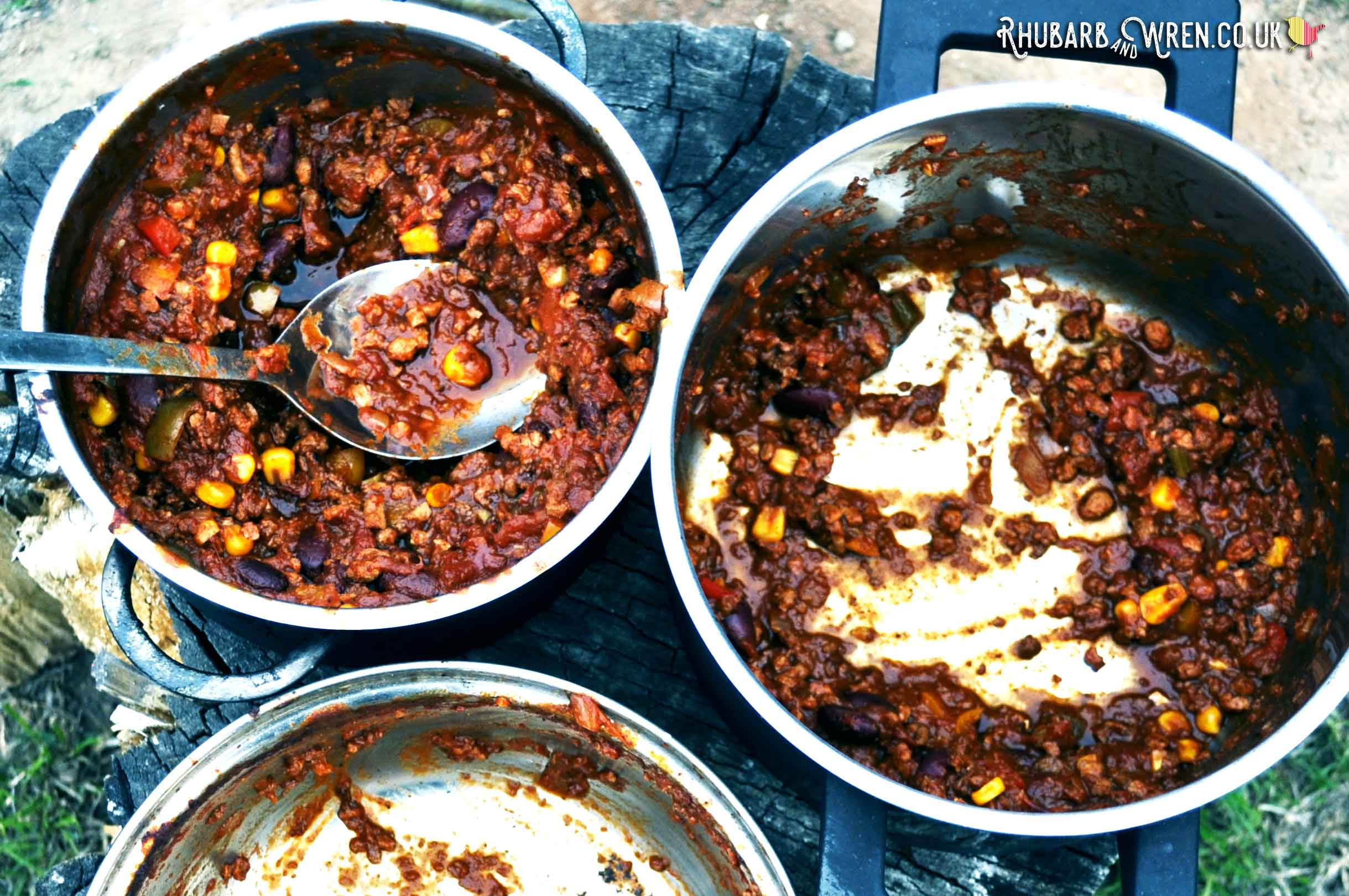 Family friendly vegan chilli cooked over camping campfire recipe