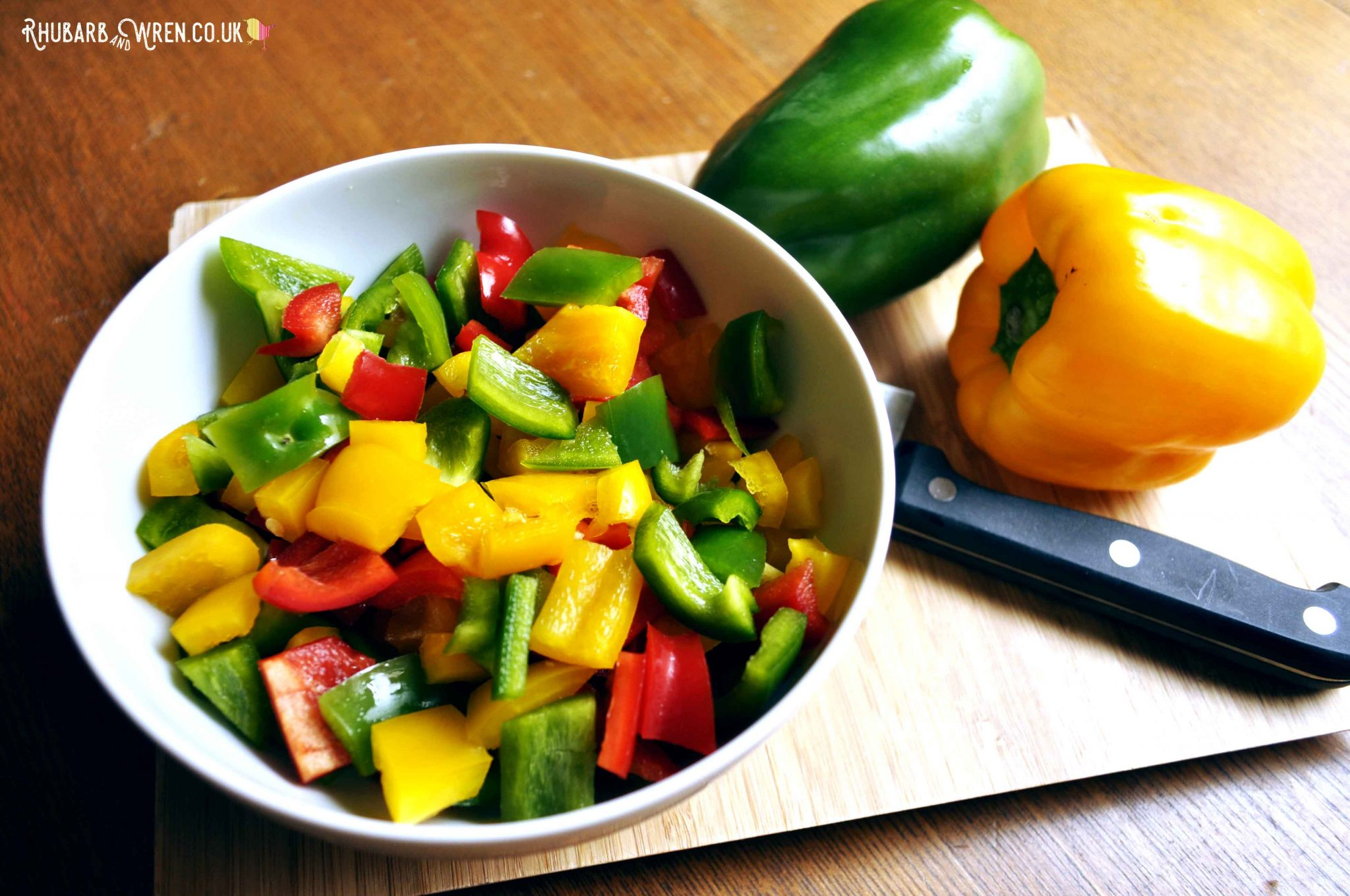 ingredients for a vegan chilli recipe - chopped bell peppers