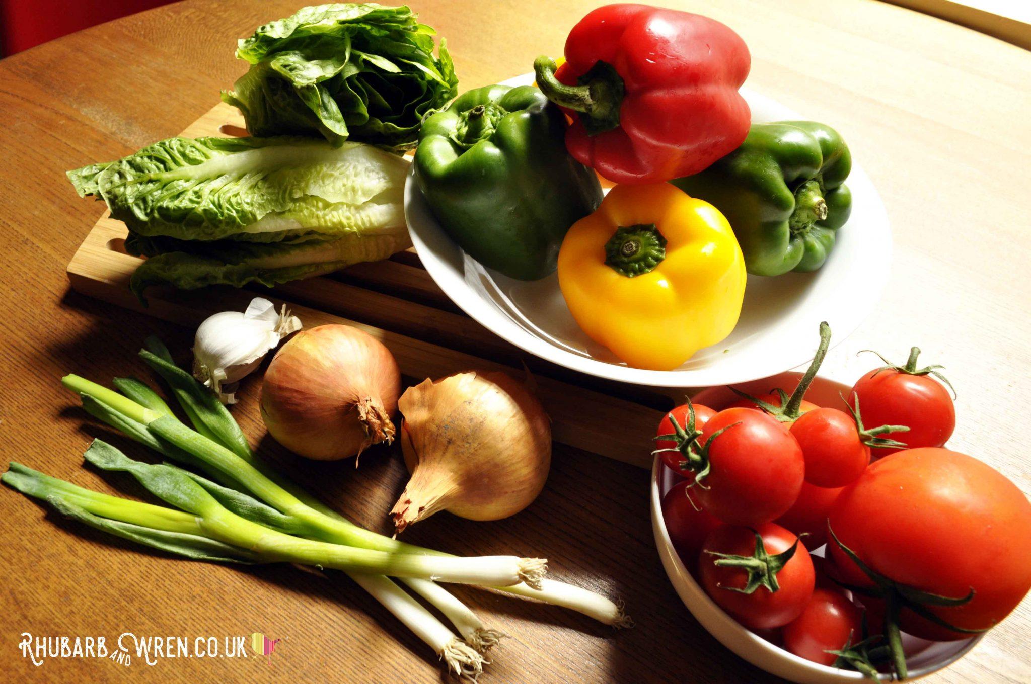 Fresh vegetables for a vegan chili recipe