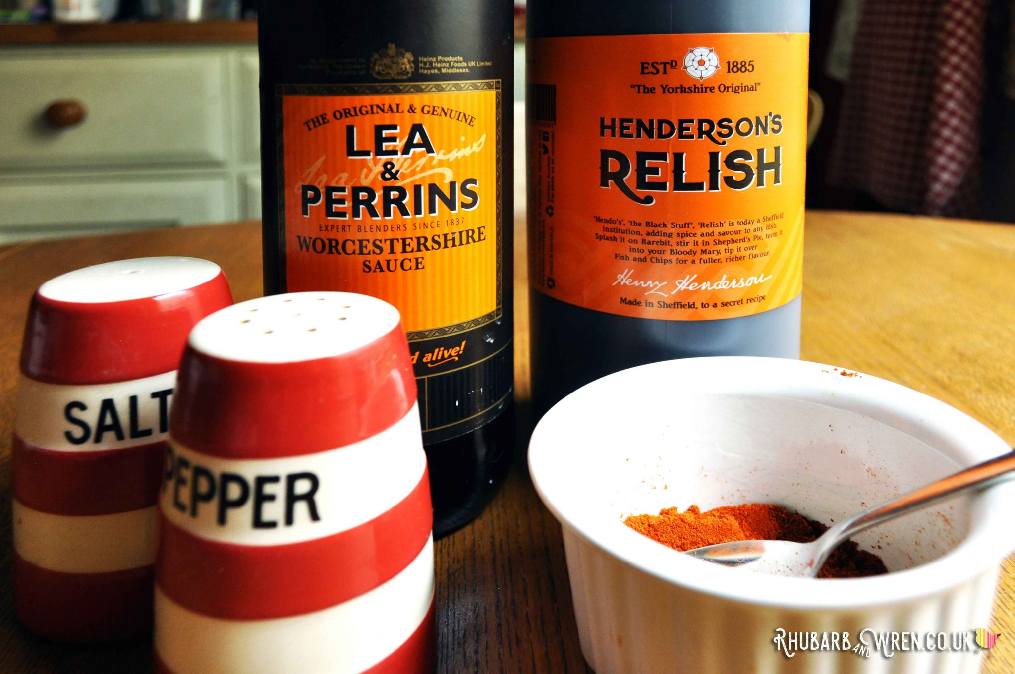 Ingredients for chilli recipe - worcestershire sauce and vegan henderson's relish