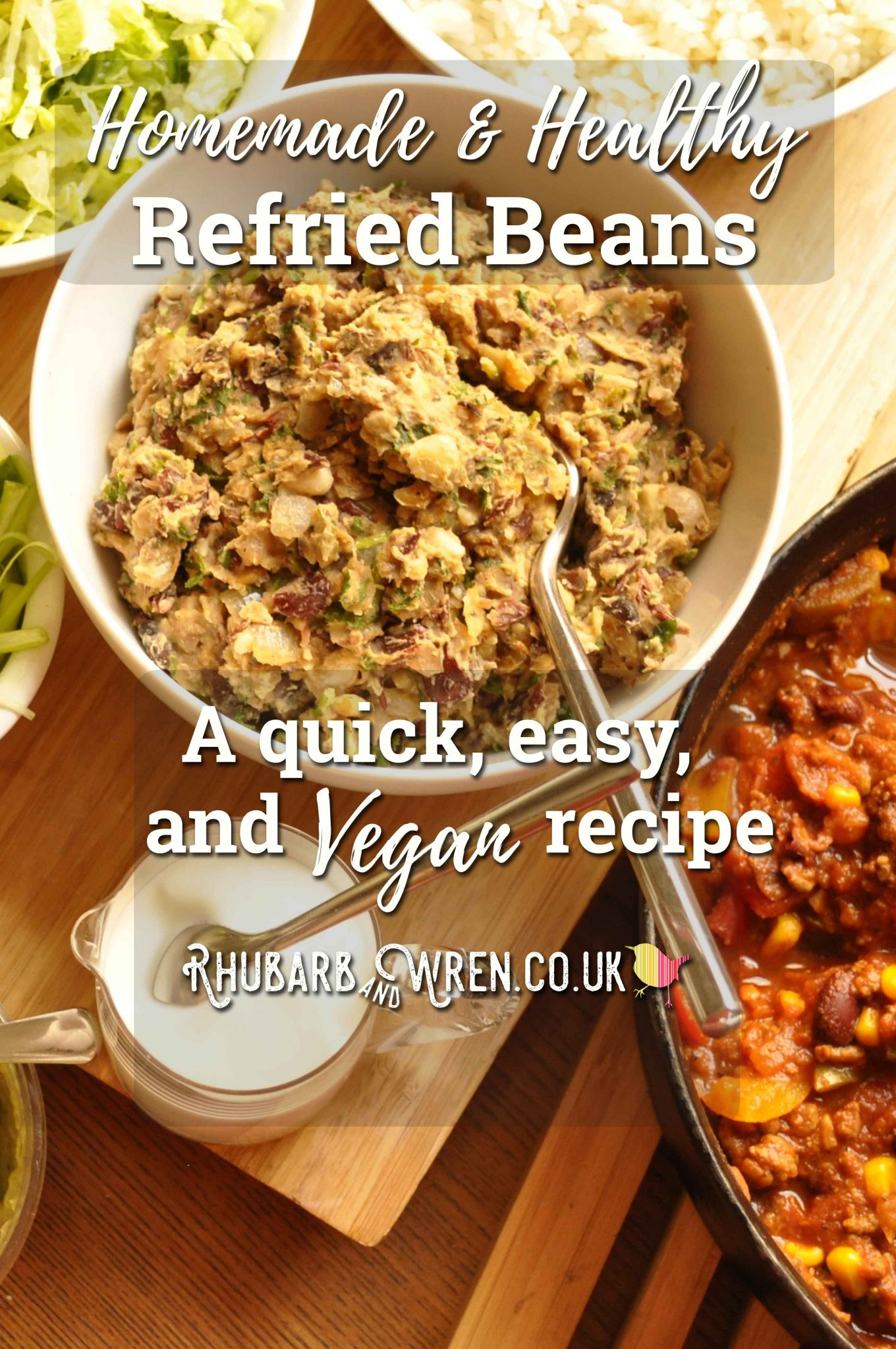 Recipe for homemade vegan refried beans made from canned beans.