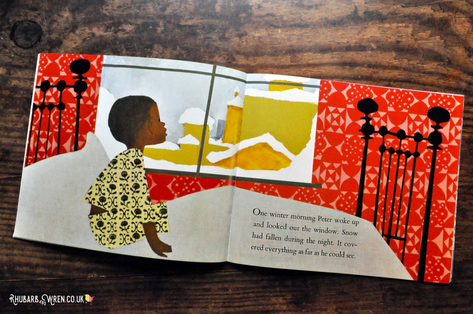 Pages from Snowy Day by Ezra Jack Keats.