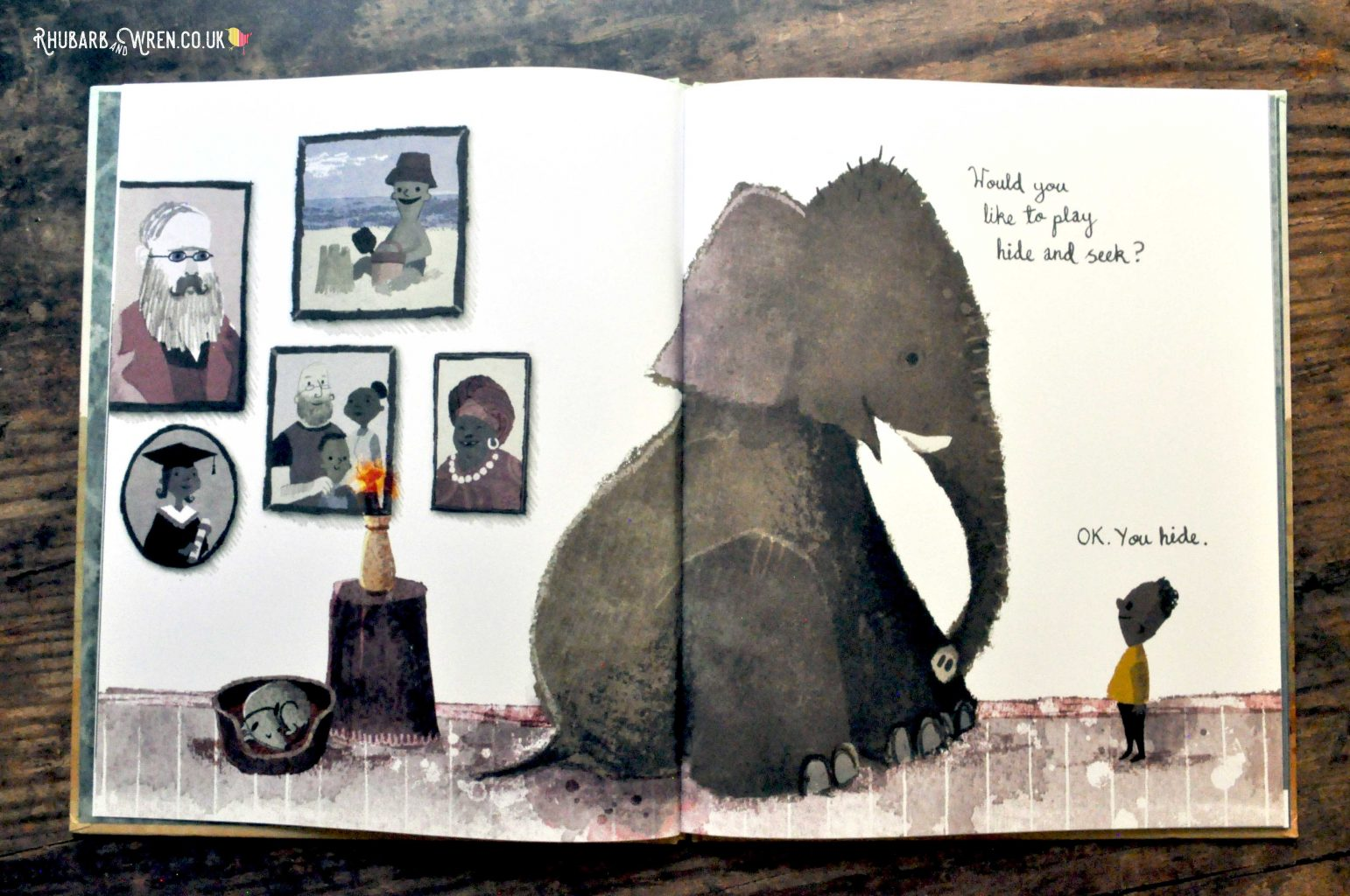 A page from 'Have You Seen Elephant' by David Barrow, where an Elephant is asking a boy to play hide and seek.