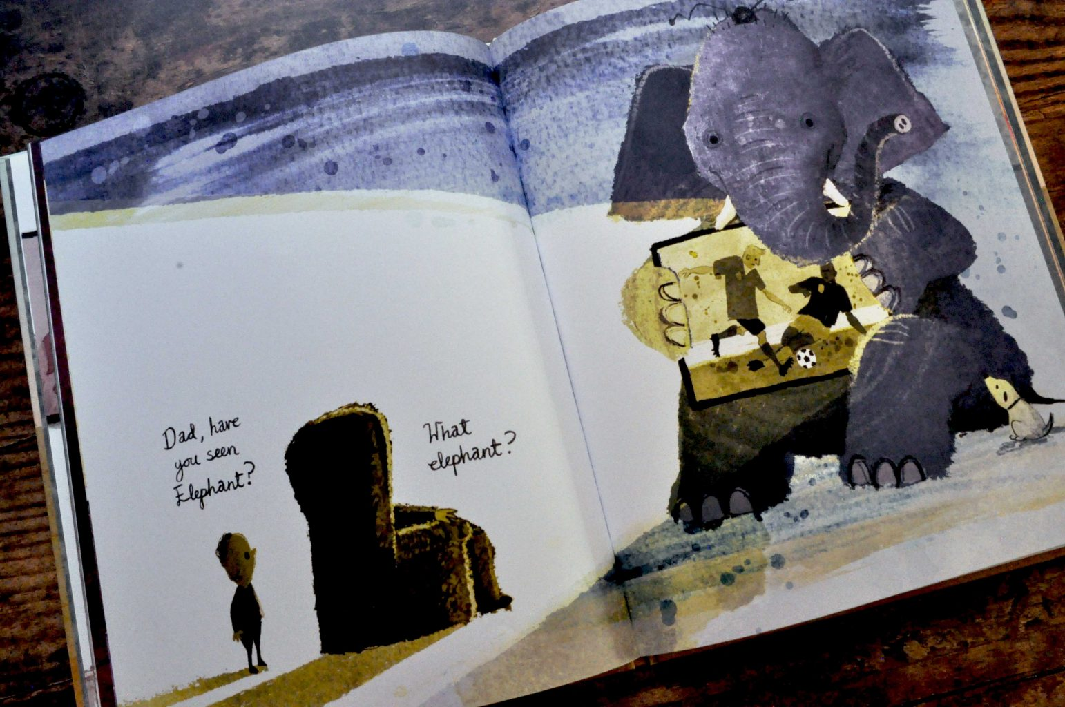 A page from 'Have You Seen Elephant' by David Barrow, showing Elephant holding a TV, yet not seen by a boy and his dad.