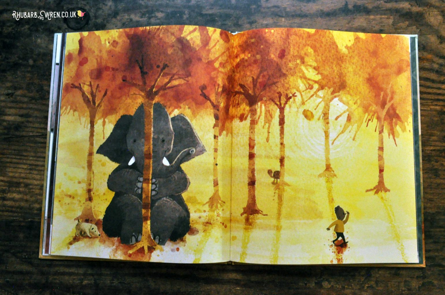 A page from 'Have you seen Elephant' by David Barrow, showing Elephant hiding behind a very thin tree while a boy looks for him.
