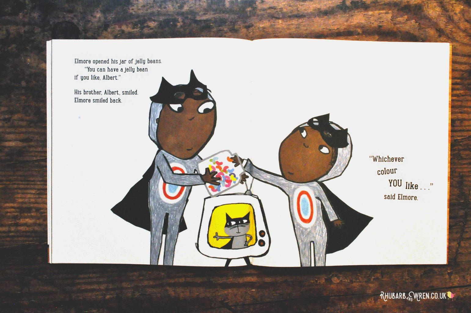 A page from the diverse children's picture book 'The New Small Person', showing the BAME boy main characters.