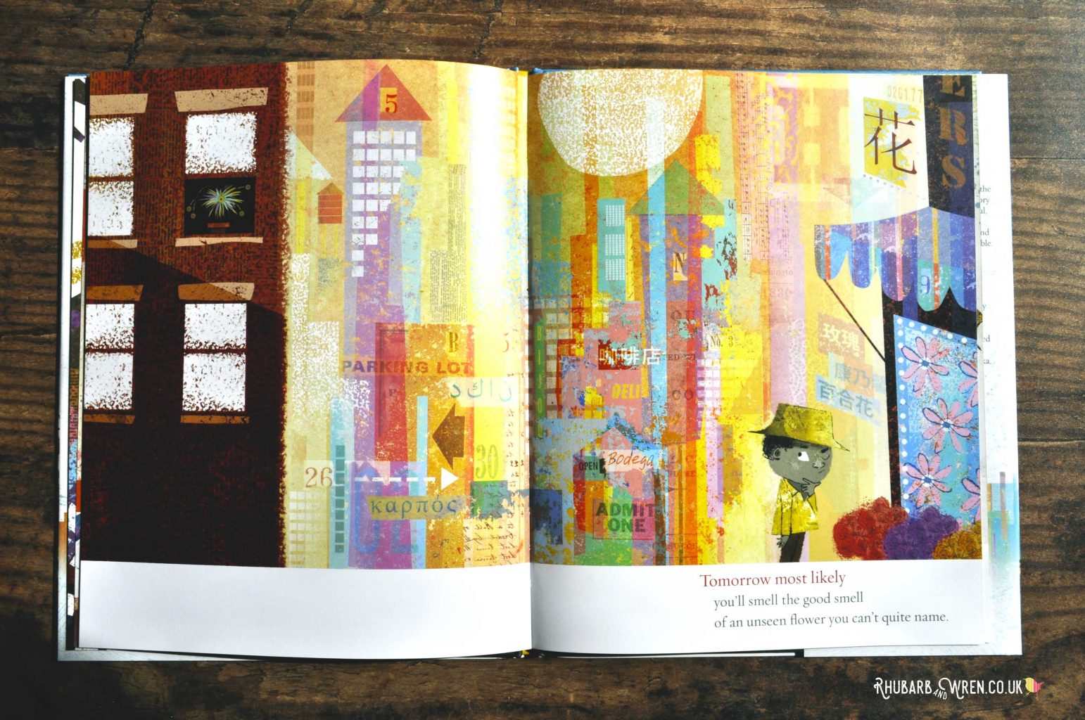 A boy walks through a colourful city in the book 'Tomorrow Most Likely' by Dave Eggers and Lane Smith