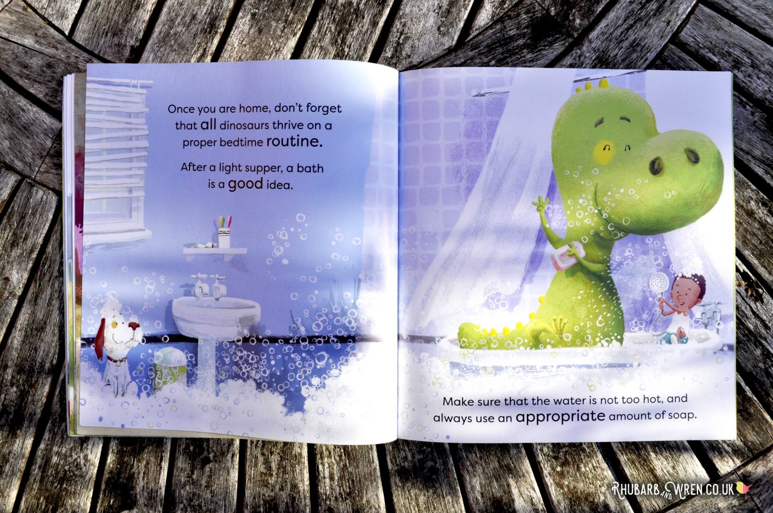 Bathtime with a T-rex in How to Look After Your Dinosaur by Jason Cockcroft