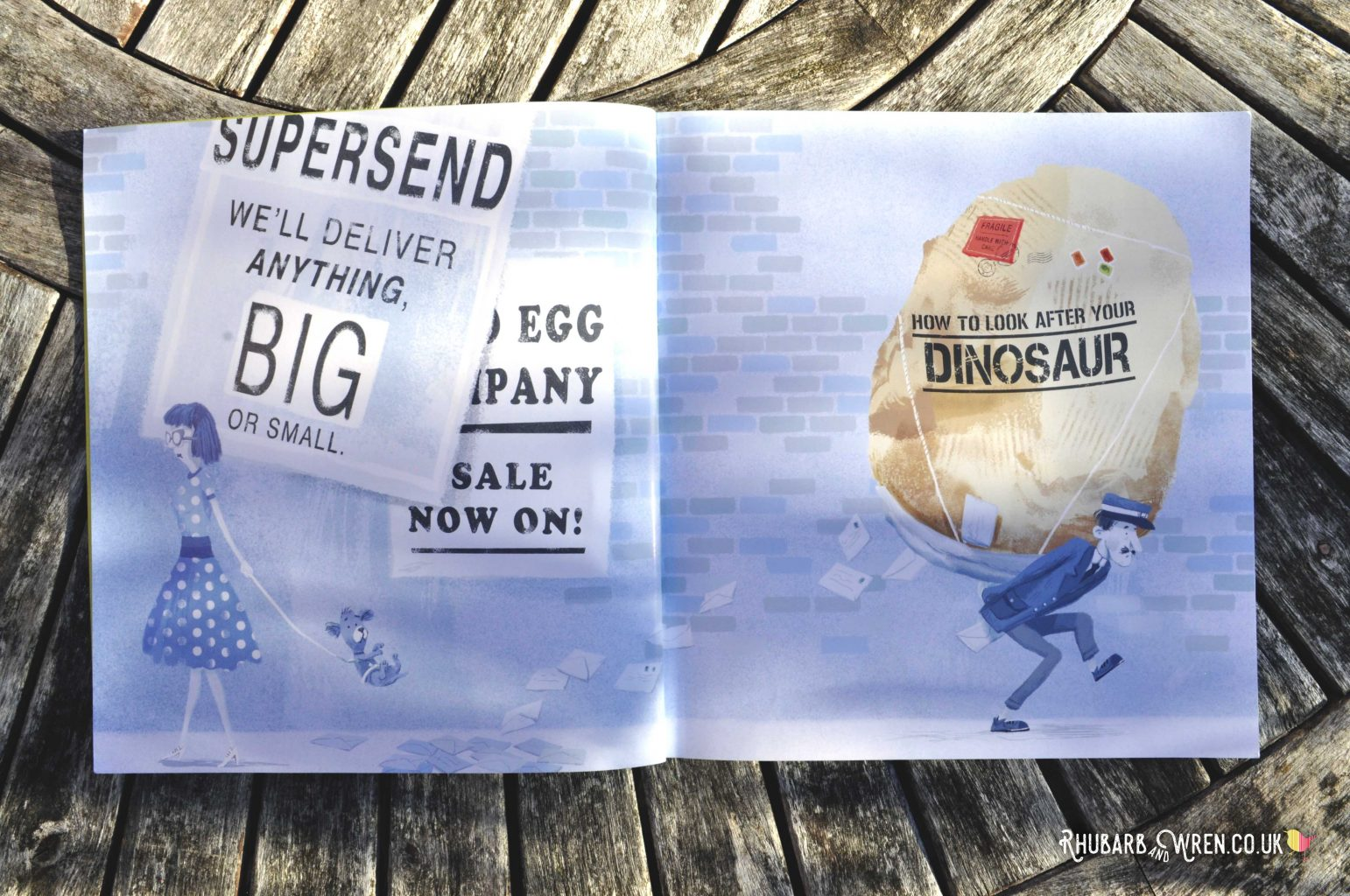 Postman struggling with large egg parcel - illustration from How to Look After Your Dinosaur by Jason Cockcroft.