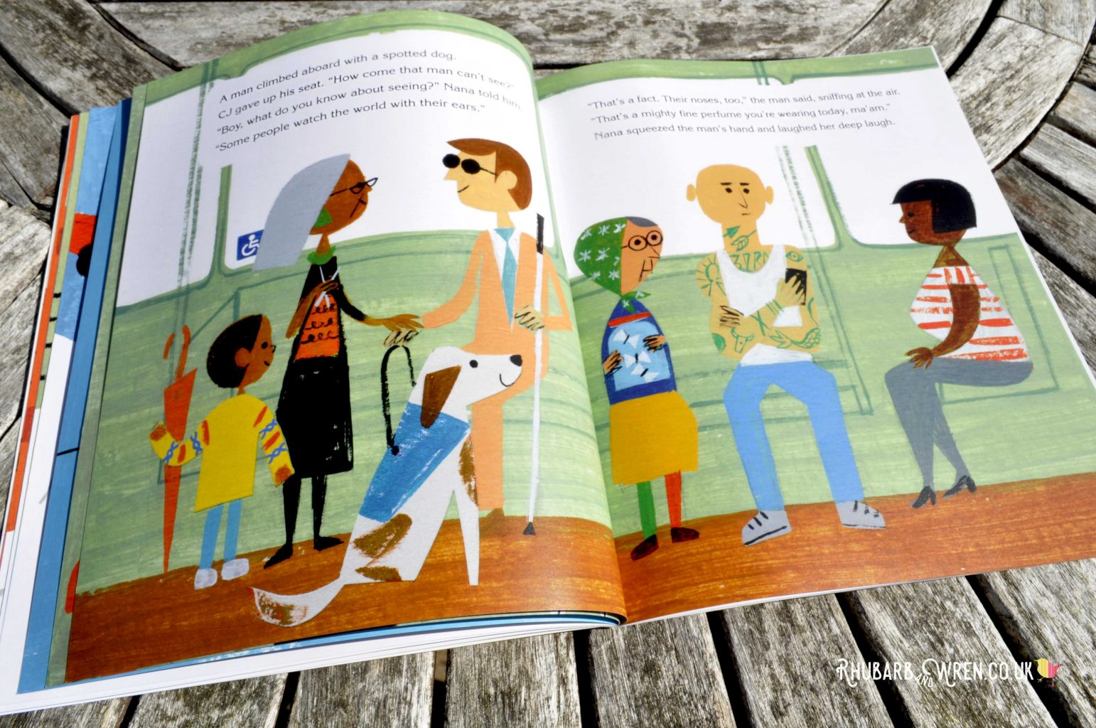 A diverse mix of passengers on the bus in Last Stop on Market Street - picture book by Matt de la Pena and Christian Robinson