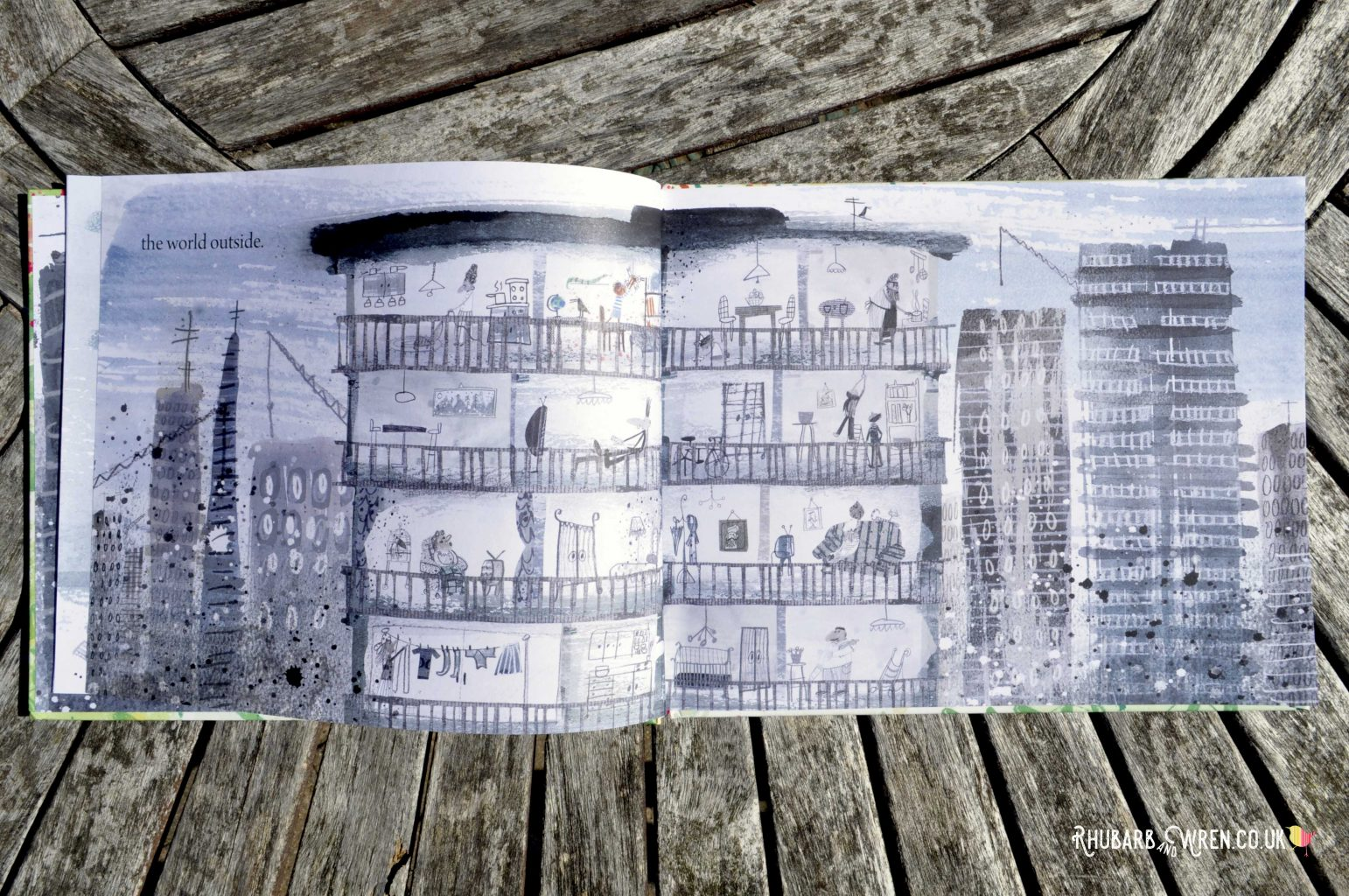 Page from The Extraordinary Gardener by Sam Boughton - view of a grey city landscape