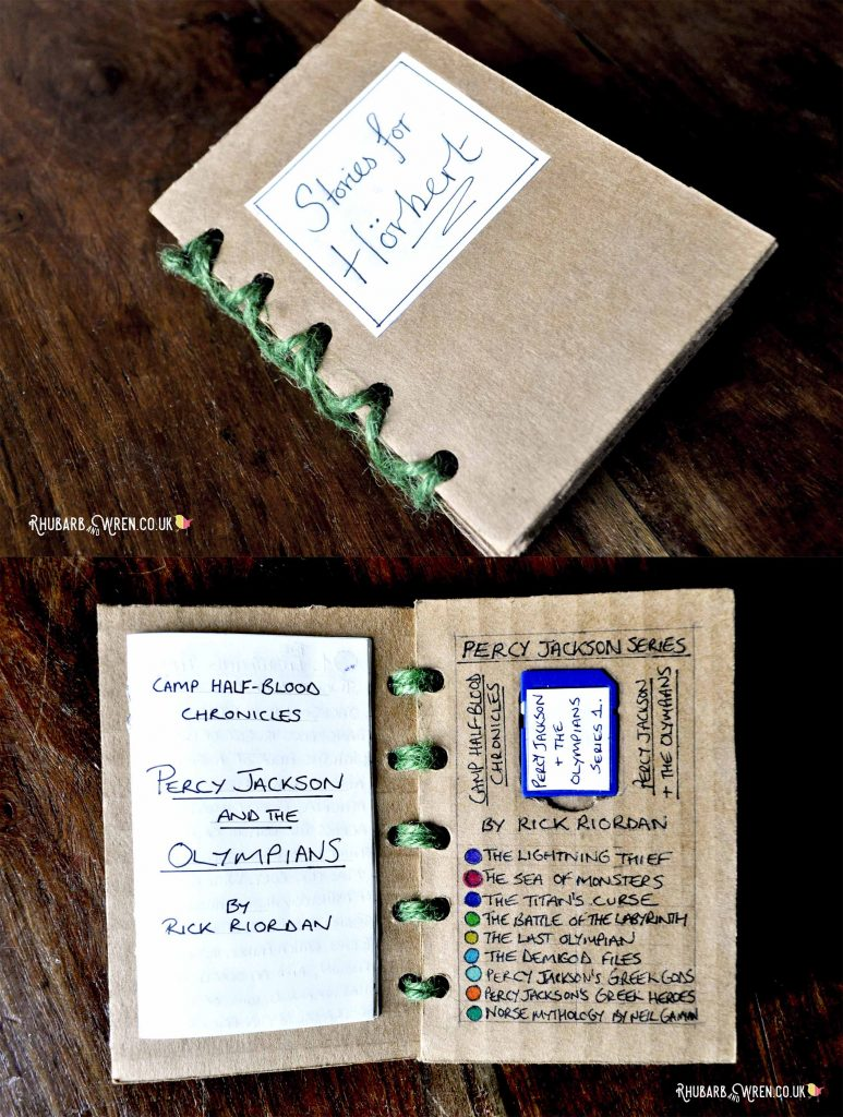 A small book made of corrugaged cardboard and bound with string, with recesses cut to store SD cards in.