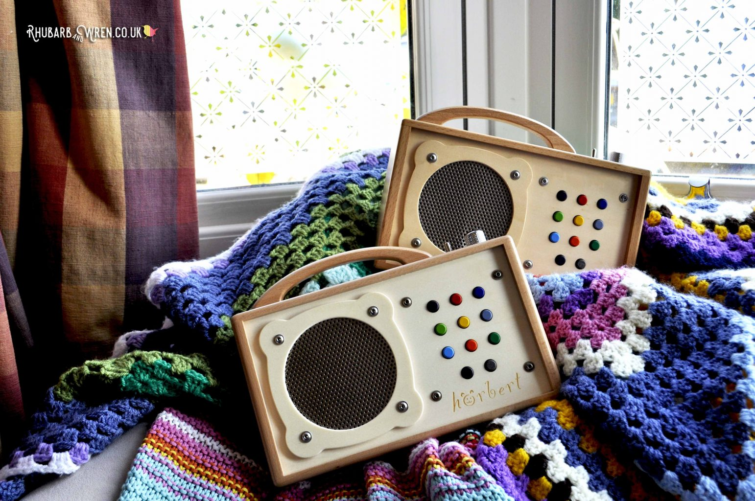 two wooden 'horbert' mp3 players.