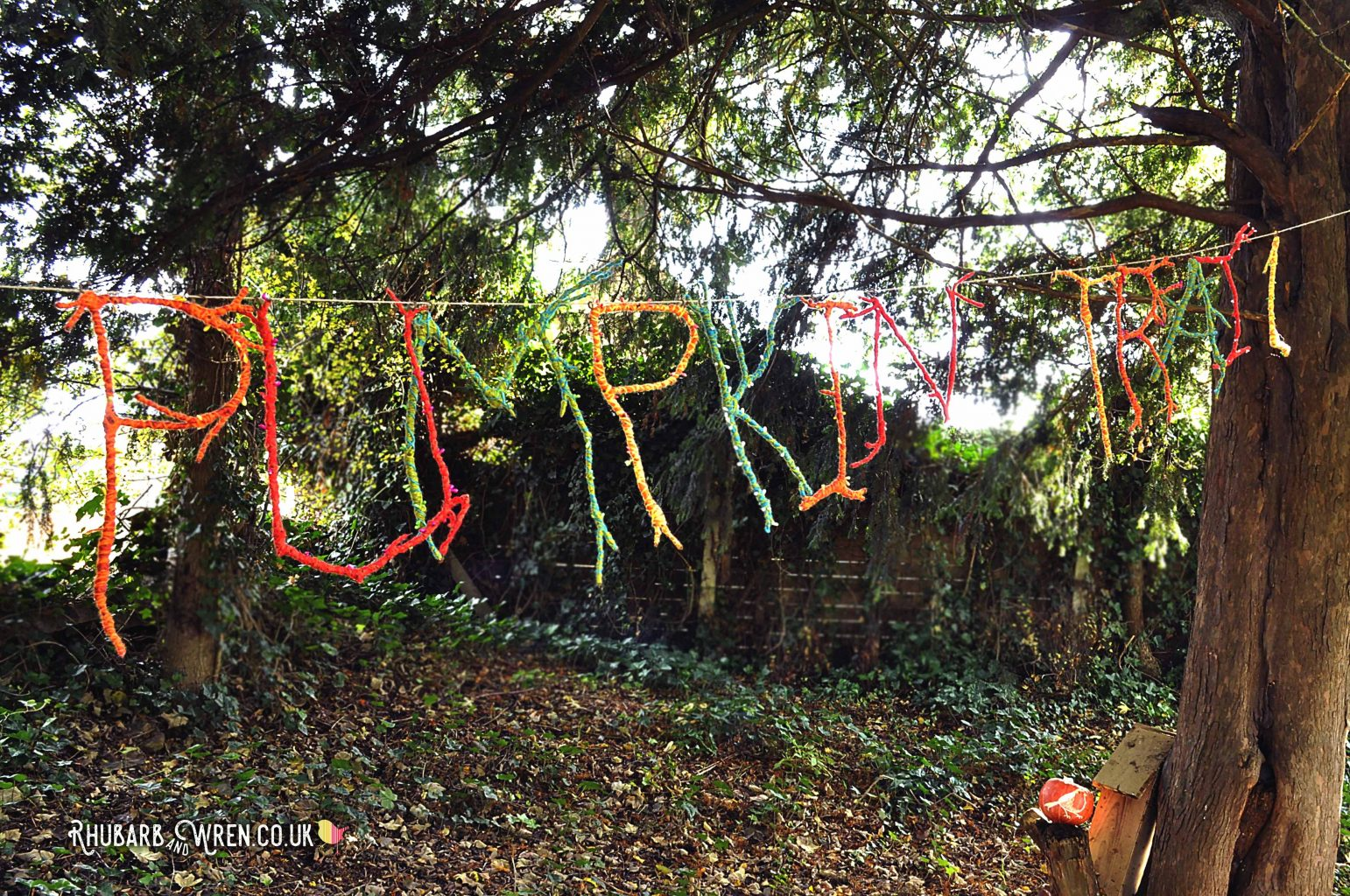 wool/yarn wrapped DIY twig letters for an animal pumpkin walk