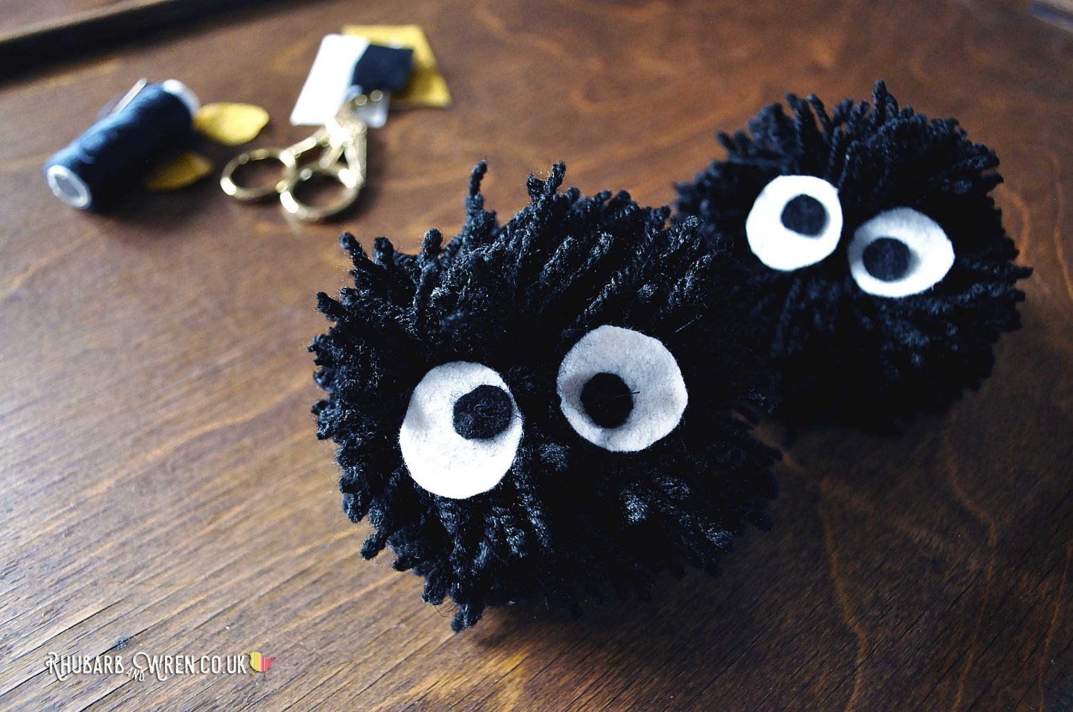 Studio Ghibli inspired DIY soot sprite pompoms