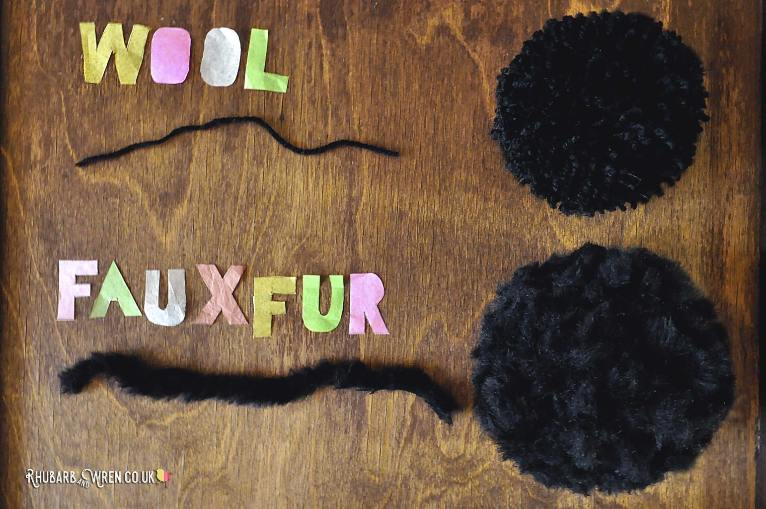 pompoms made from ordinary wool/yarn and faux fur wool/yarn