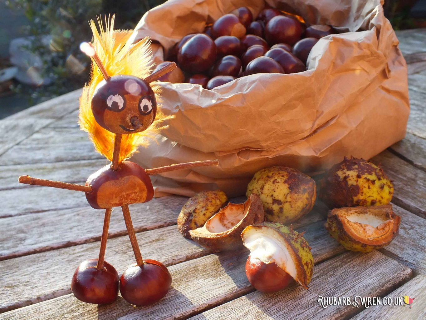 A conker creature made with twigs and feathers.