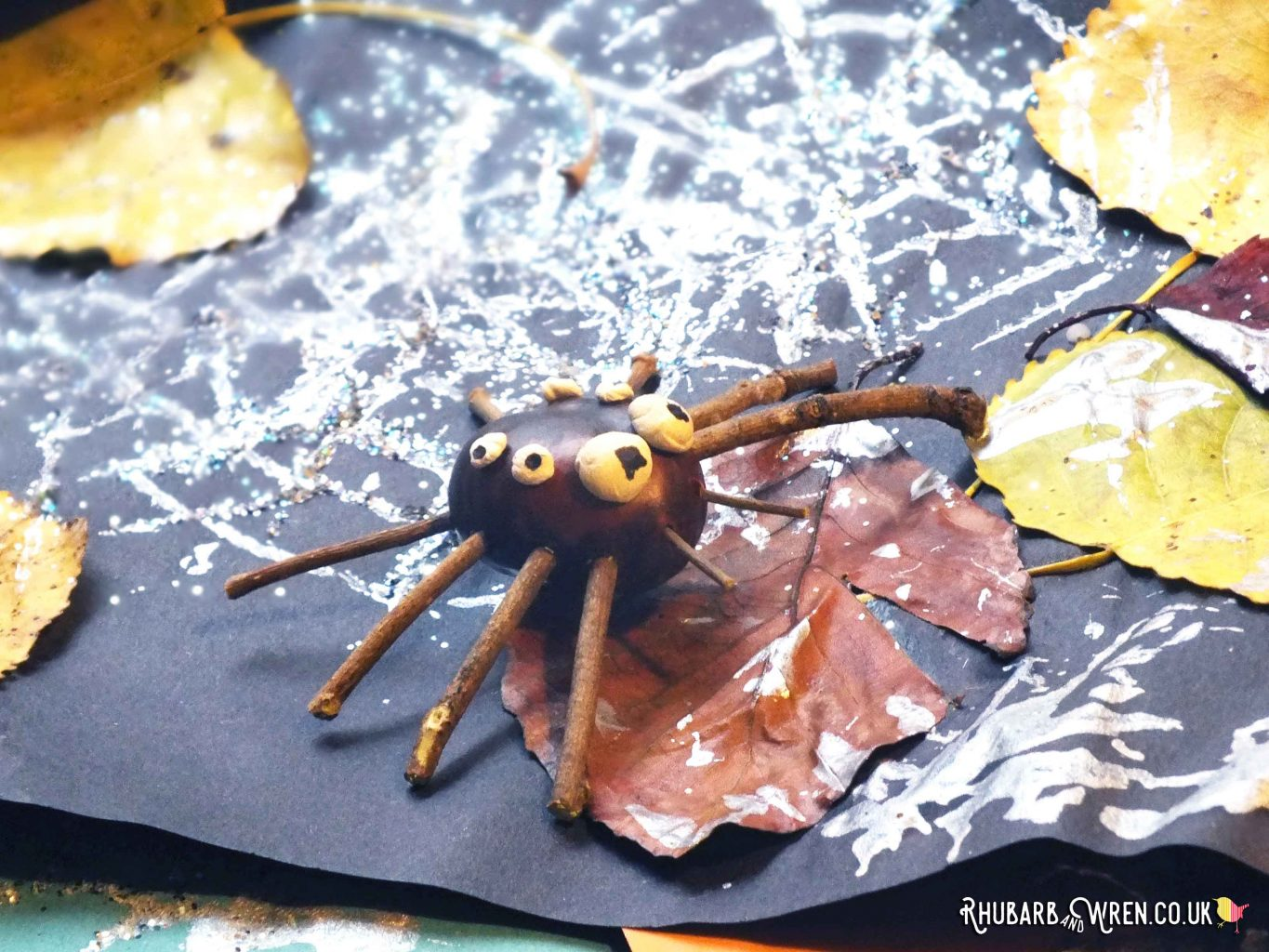 A spider made from conkers and twigs