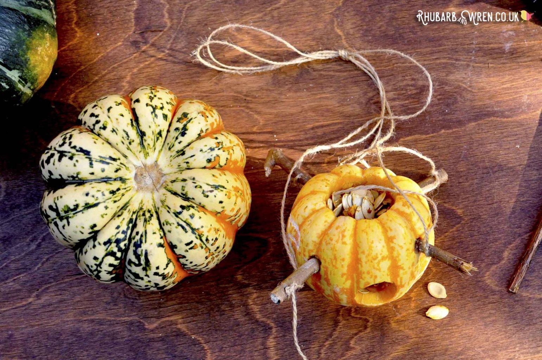 mini pumpkin bird feeders