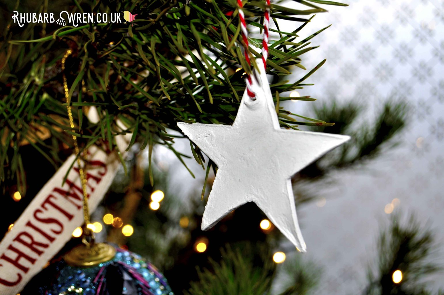 Home-made clay star Christmas decoration