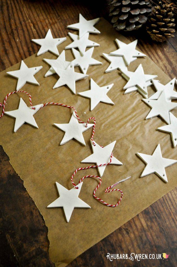 DIY clay star Christmas decorations